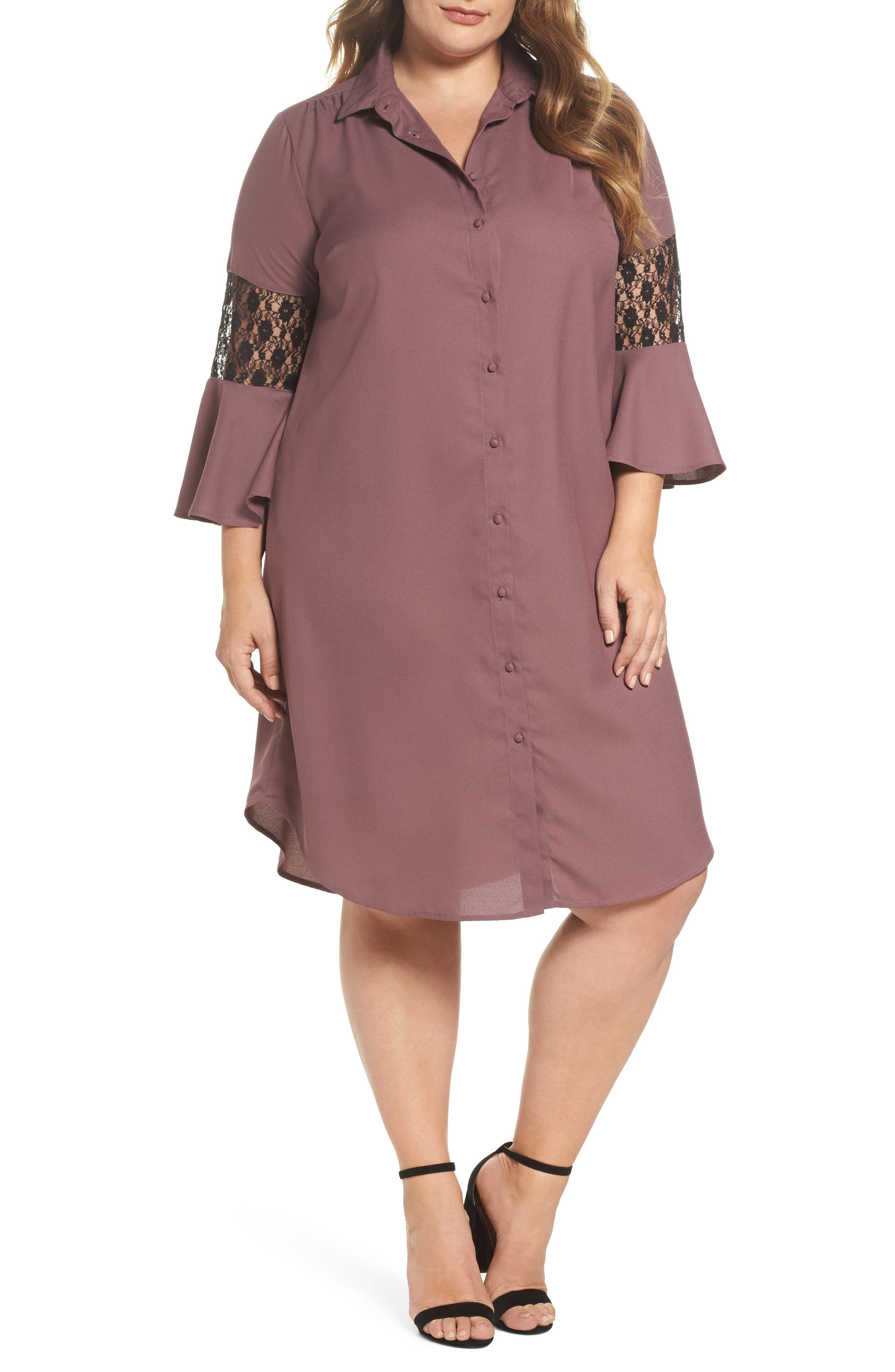 Alternate Image 1 Selected - LOST INK Lace Inset Shirtdress (Plus Size)