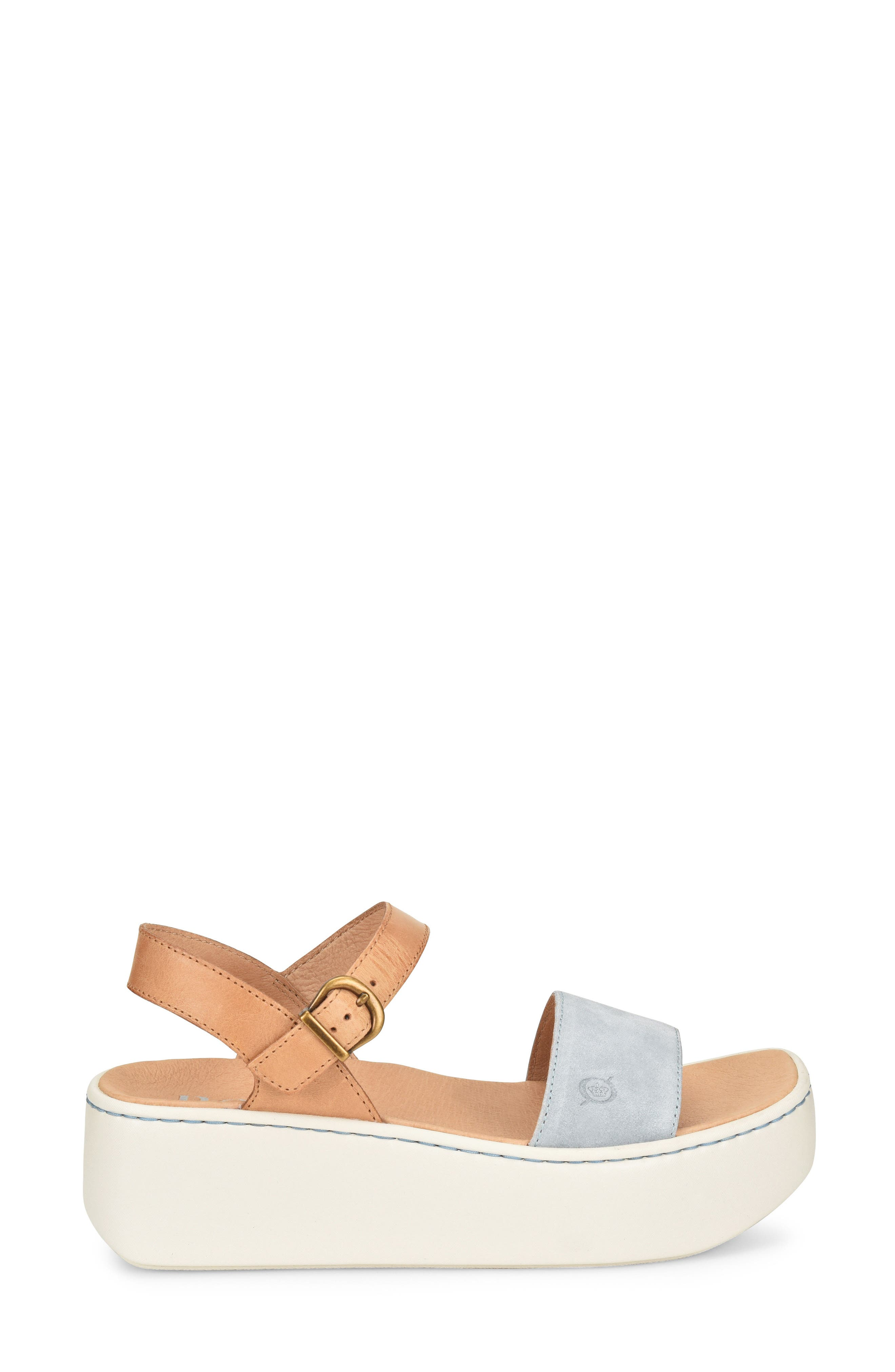 Breaker Platform Sandal,                             Alternate thumbnail 3, color,                             Light Blue/ Tan Leather