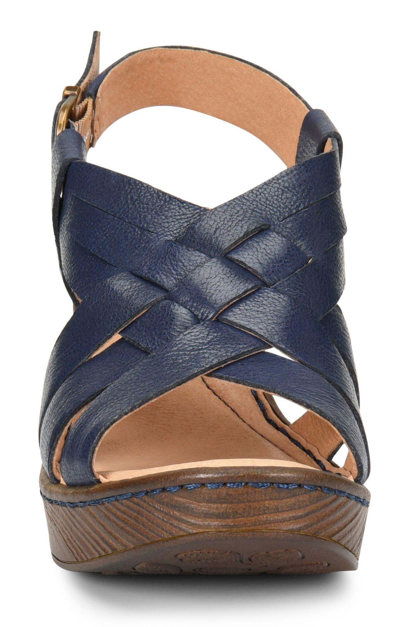 Crevalle Platform Sandal,                             Alternate thumbnail 4, color,                             Navy Leather