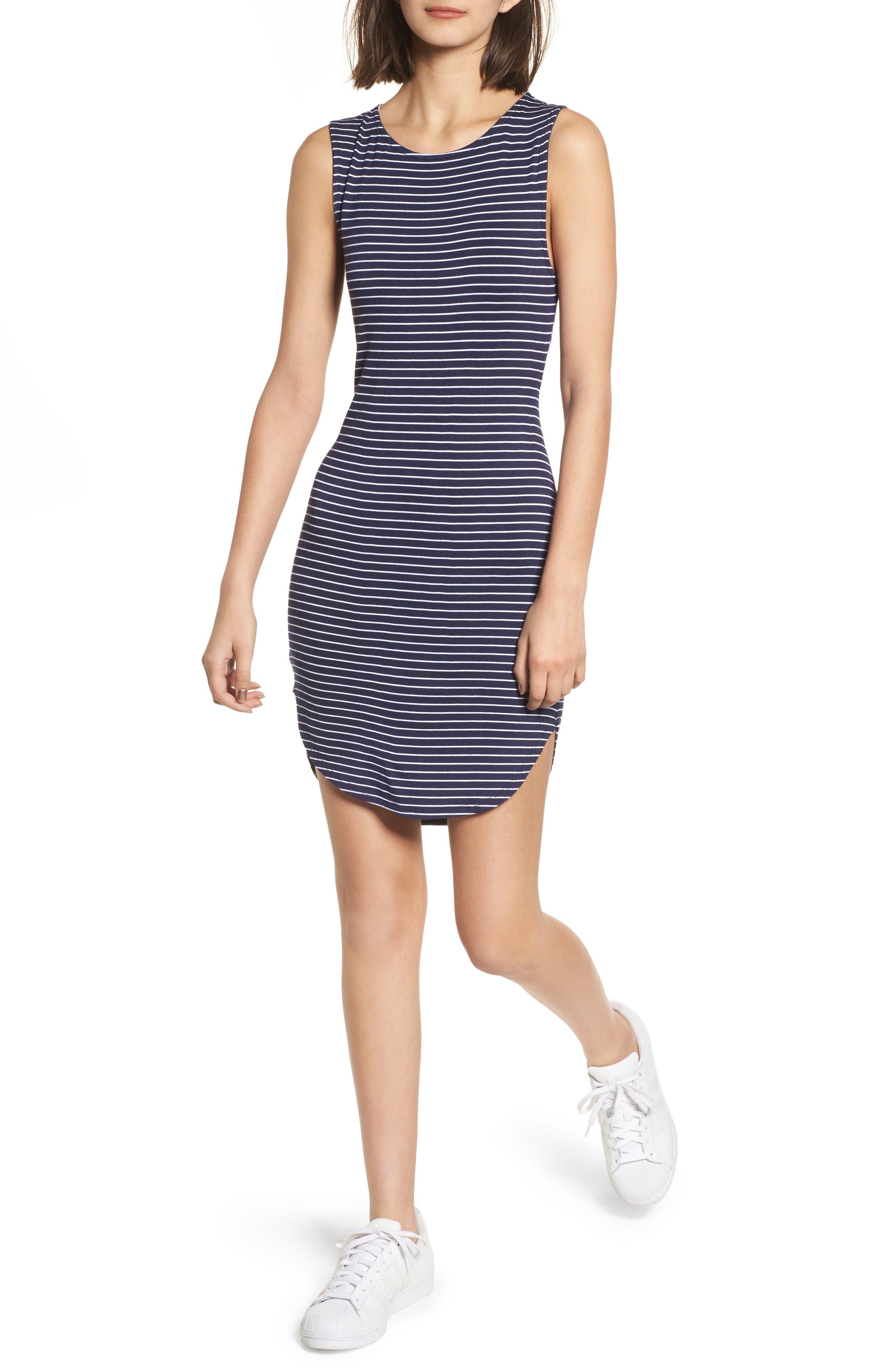 Twist Back Tank Dress,                             Main thumbnail 1, color,                             Navy Eclipse Stripe