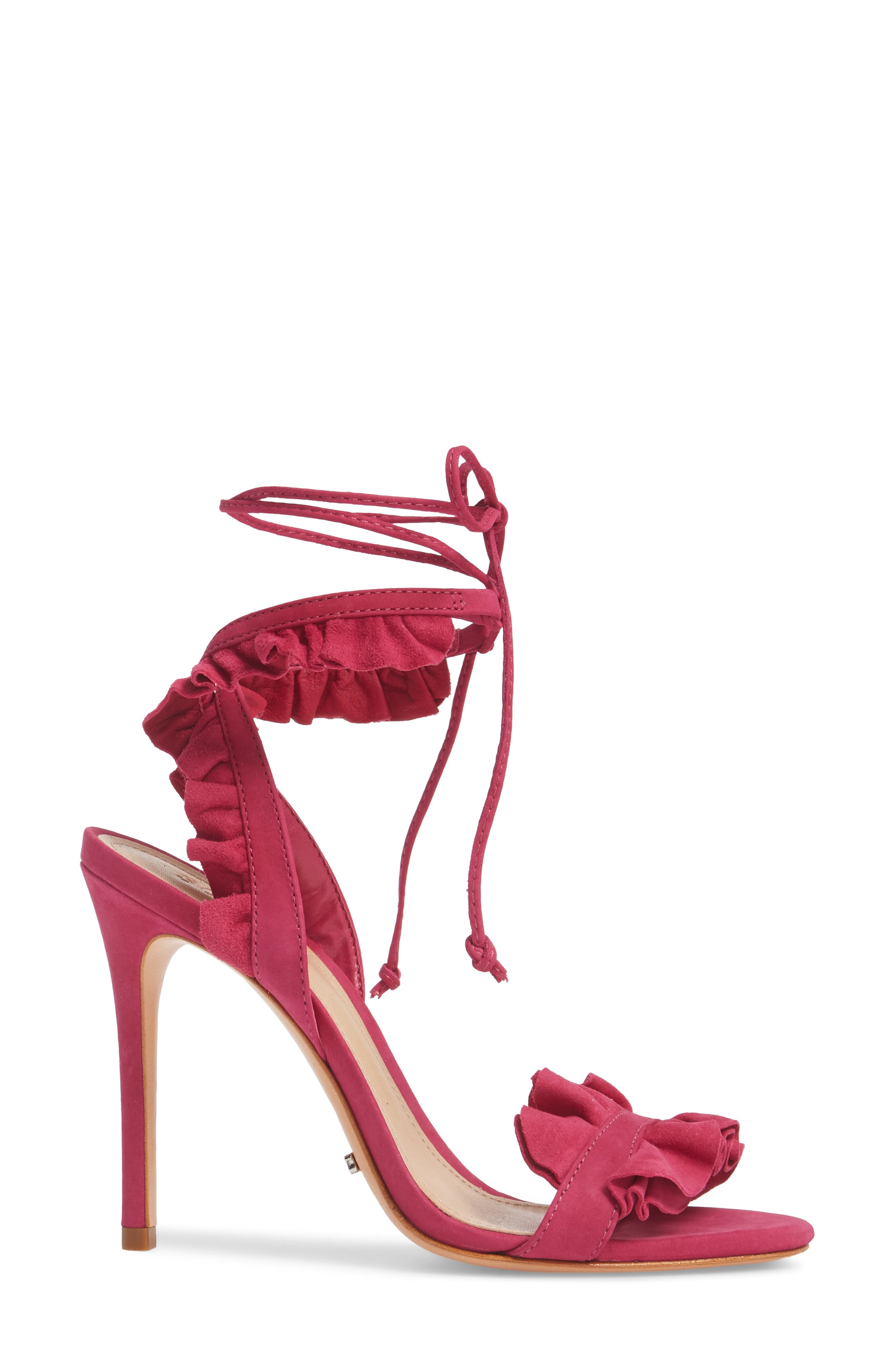 Irem Lace-UP Sandal,                             Alternate thumbnail 3, color,                             Bright Rose Nubuck Leather