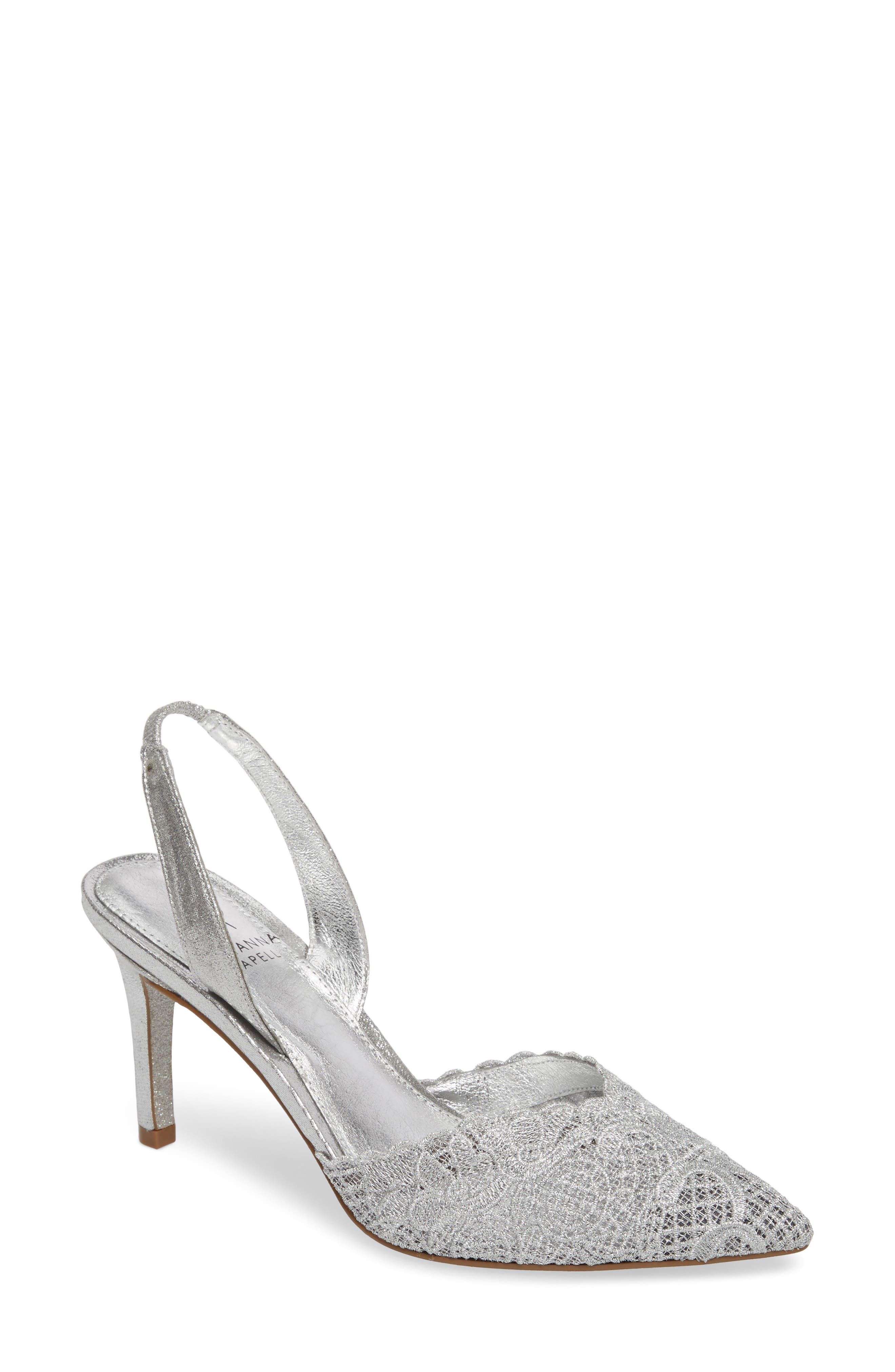 d53ce31a4ad Hallie Slingback Pump in Silver Attalie Lace Fabric