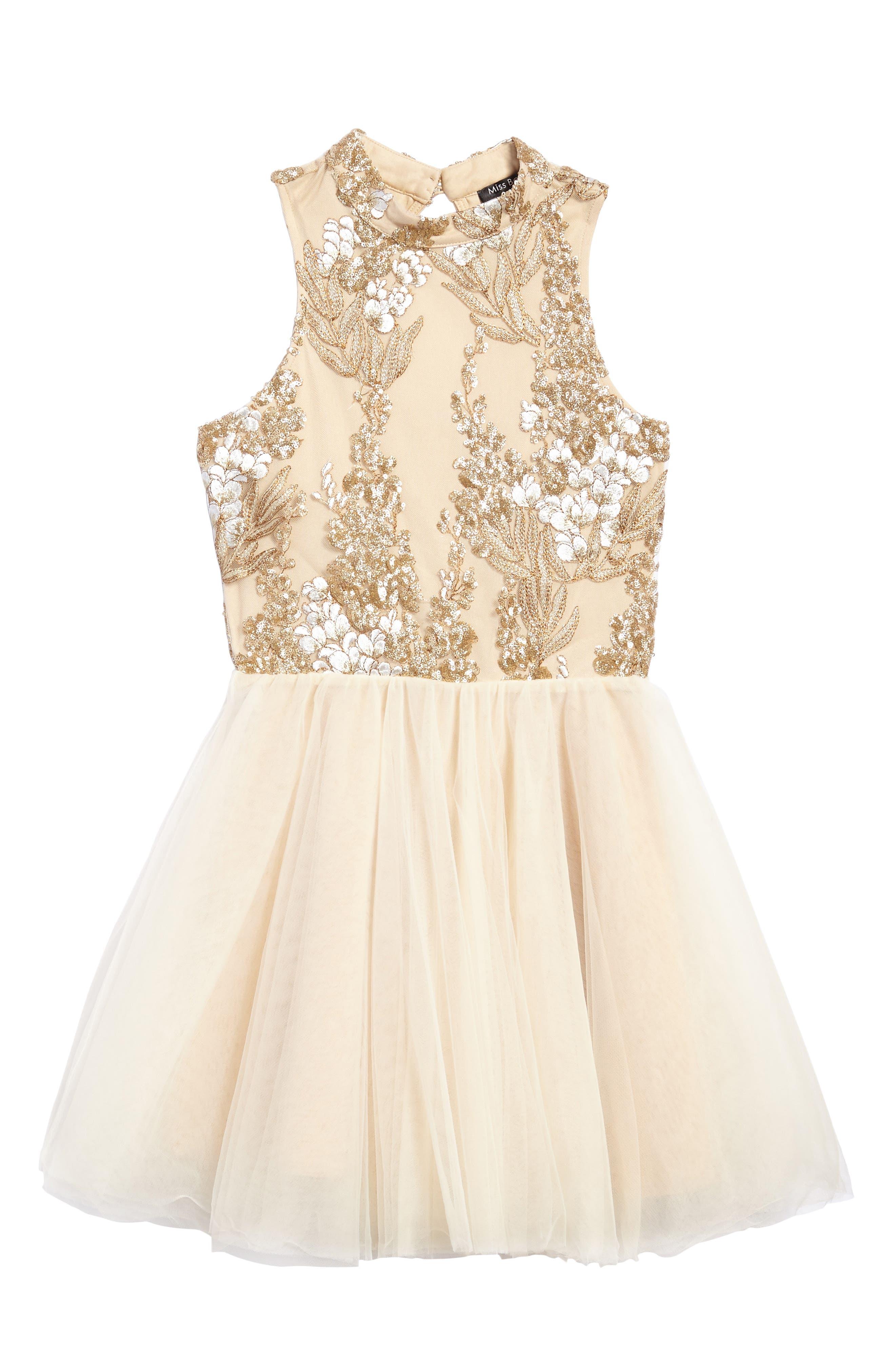 Main Image - Miss Behave Grace Sequin Halter Dress (Big Girls)