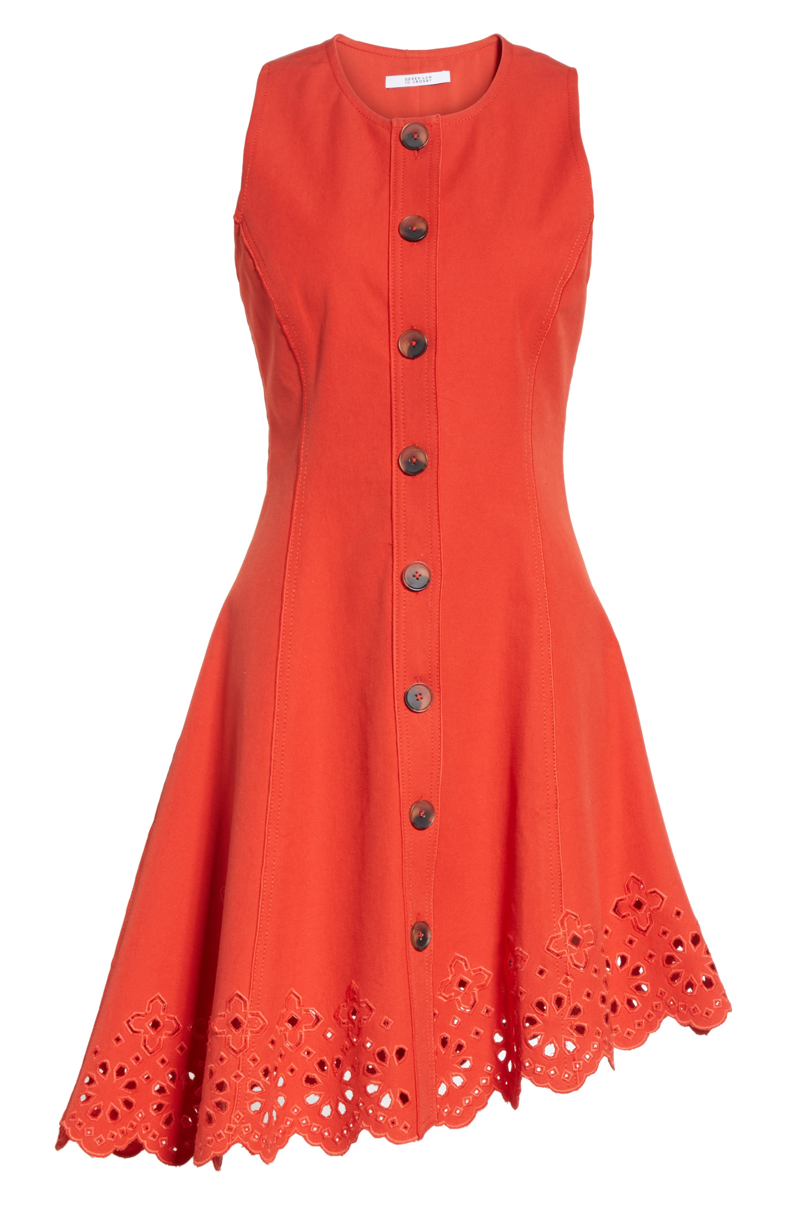 Scallop Hem Dress,                             Alternate thumbnail 6, color,                             Red Clay