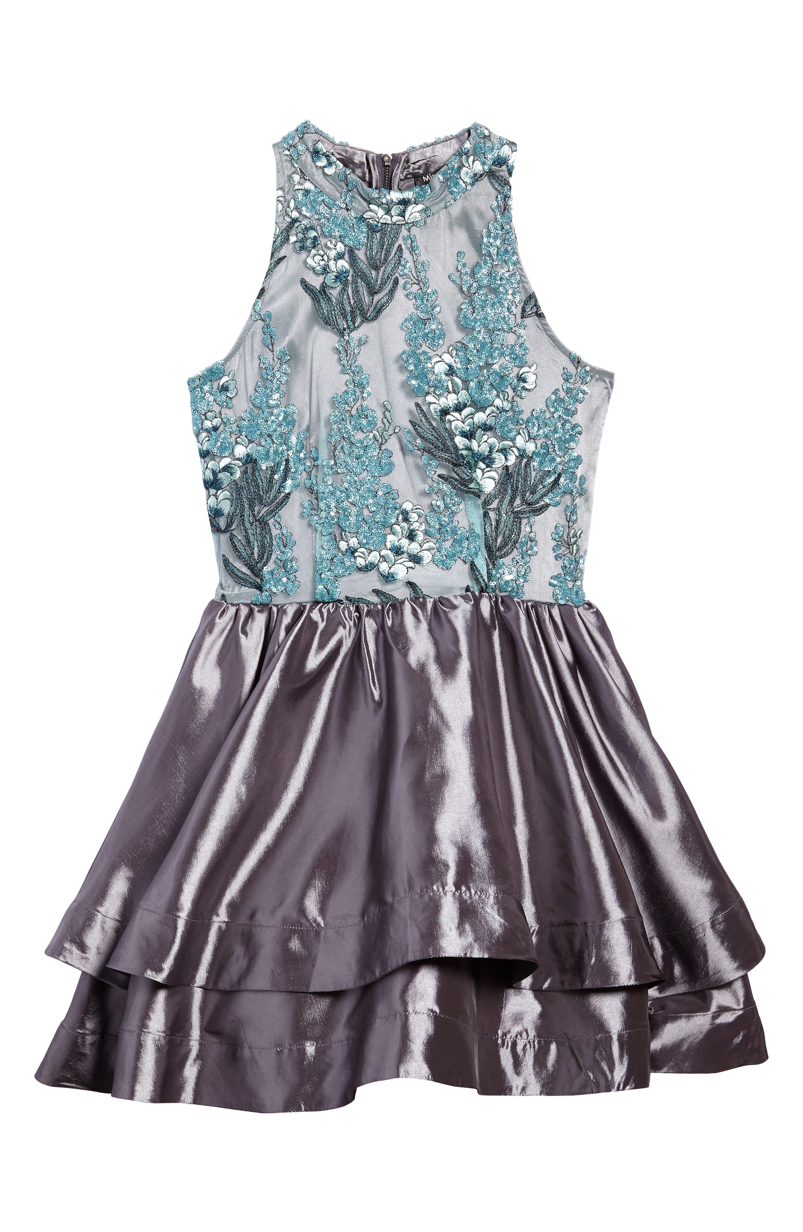 Ruby Sequin Sleeveless Dress,                             Main thumbnail 1, color,                             Grey