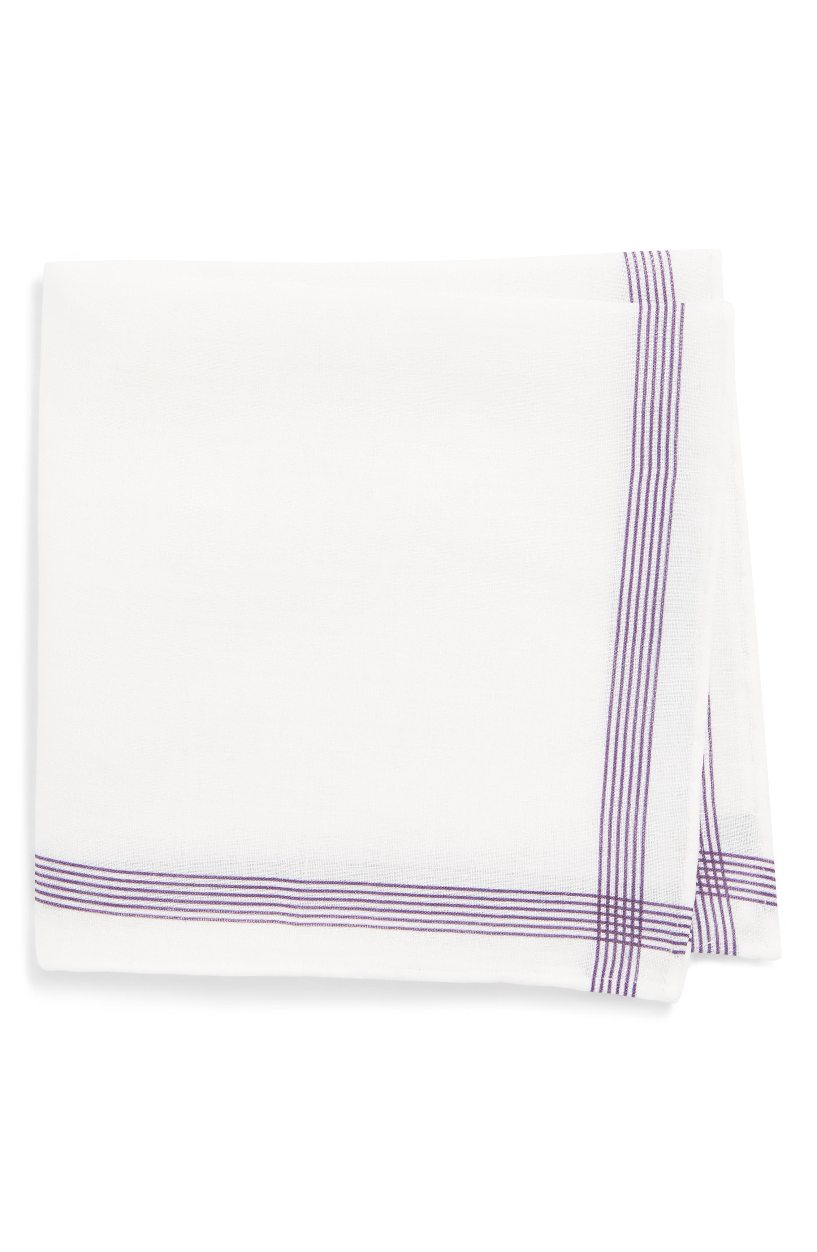 Old Town Border Linen Pocket Square,                         Main,                         color, Purple