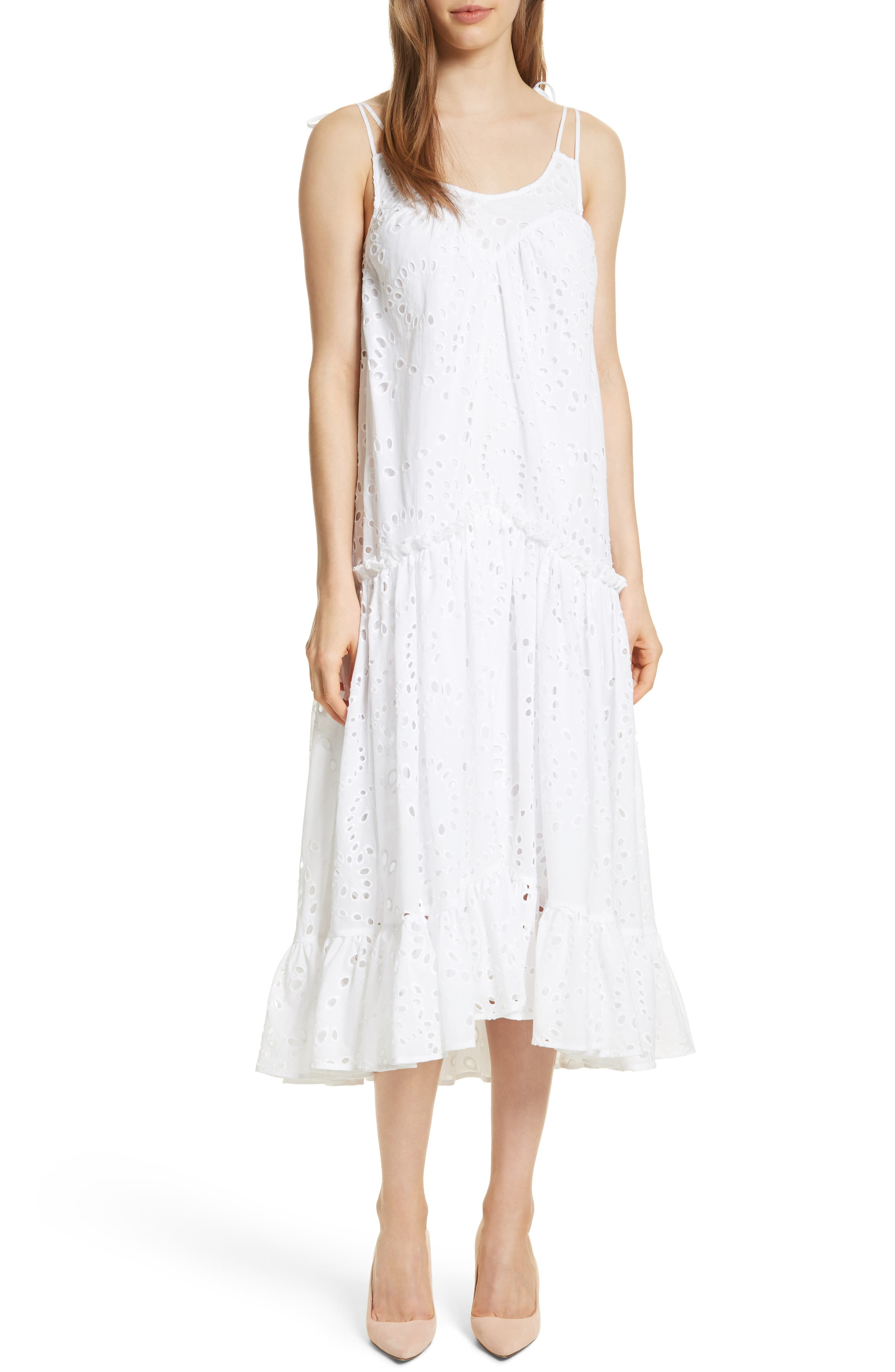 Prose & Poetry Kerr Eyelet Peasant Midi Dress,                         Main,                         color, Cloud White