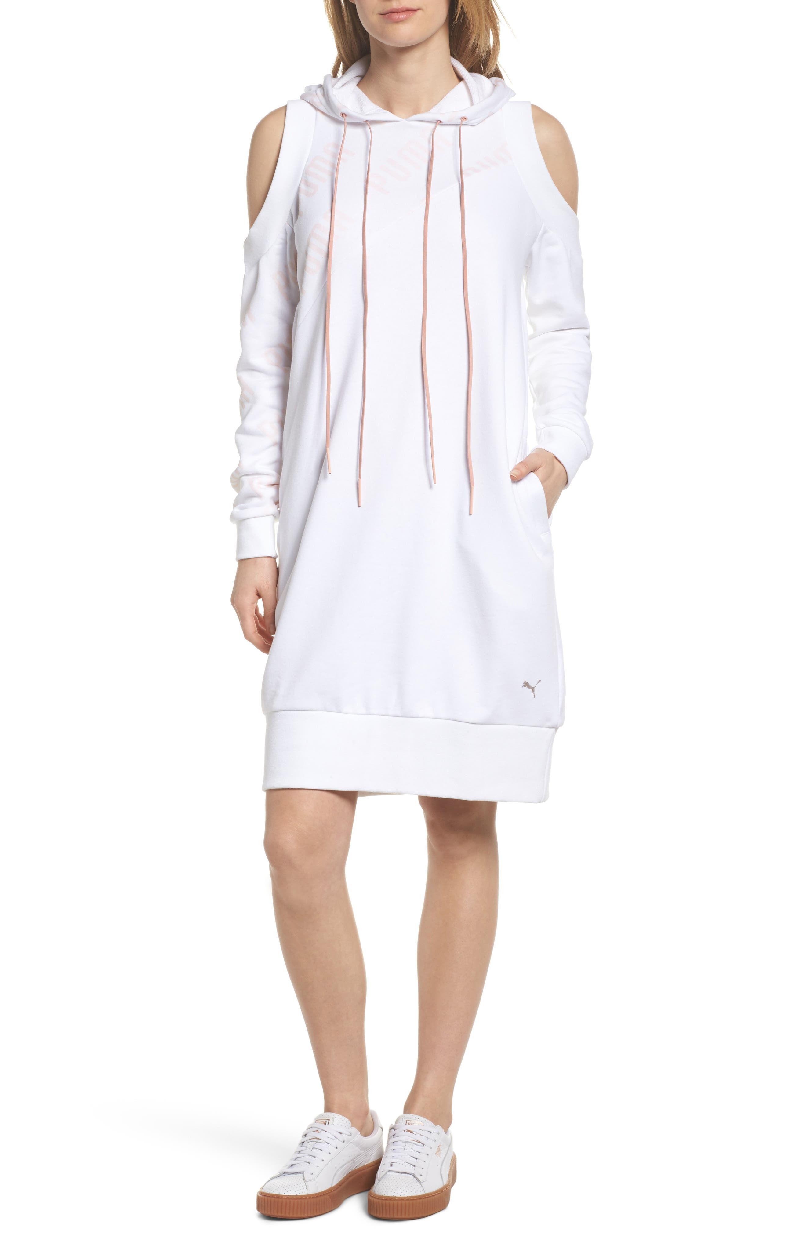 En Pointe Drawstring Dress,                             Main thumbnail 1, color,                             Puma White