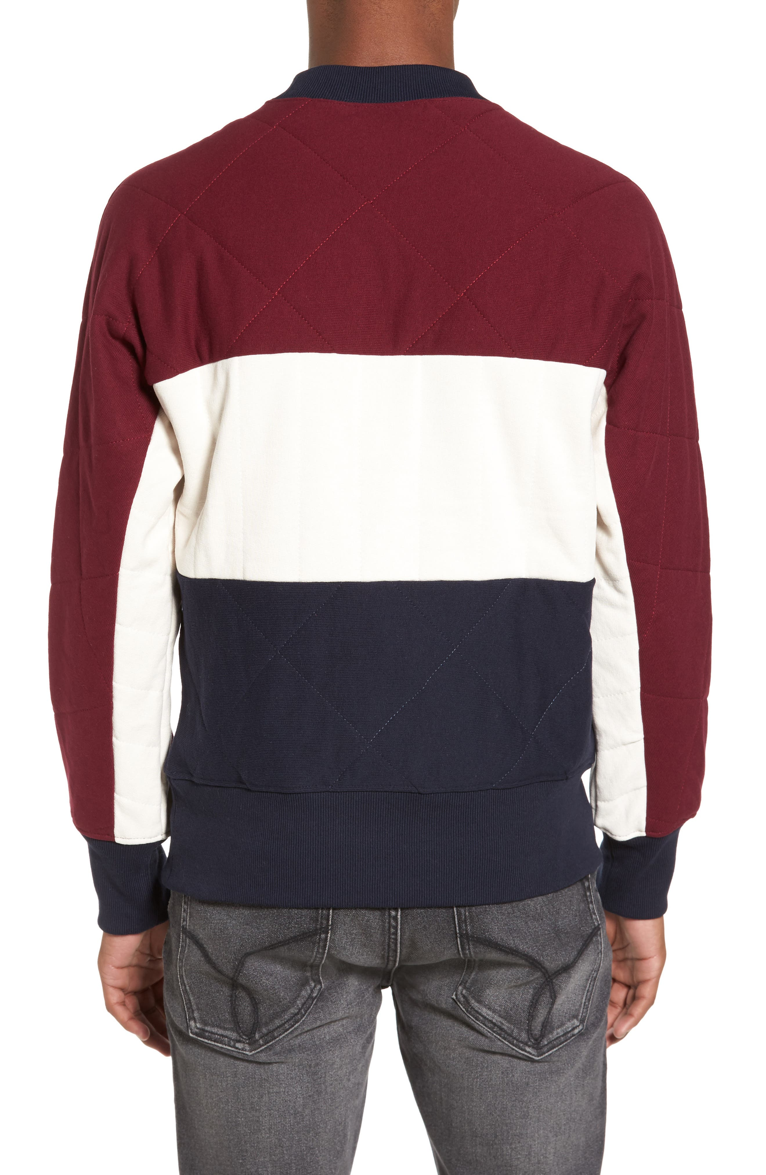 Quilted Colorblock Sweatshirt,                             Alternate thumbnail 2, color,                             Burgundy