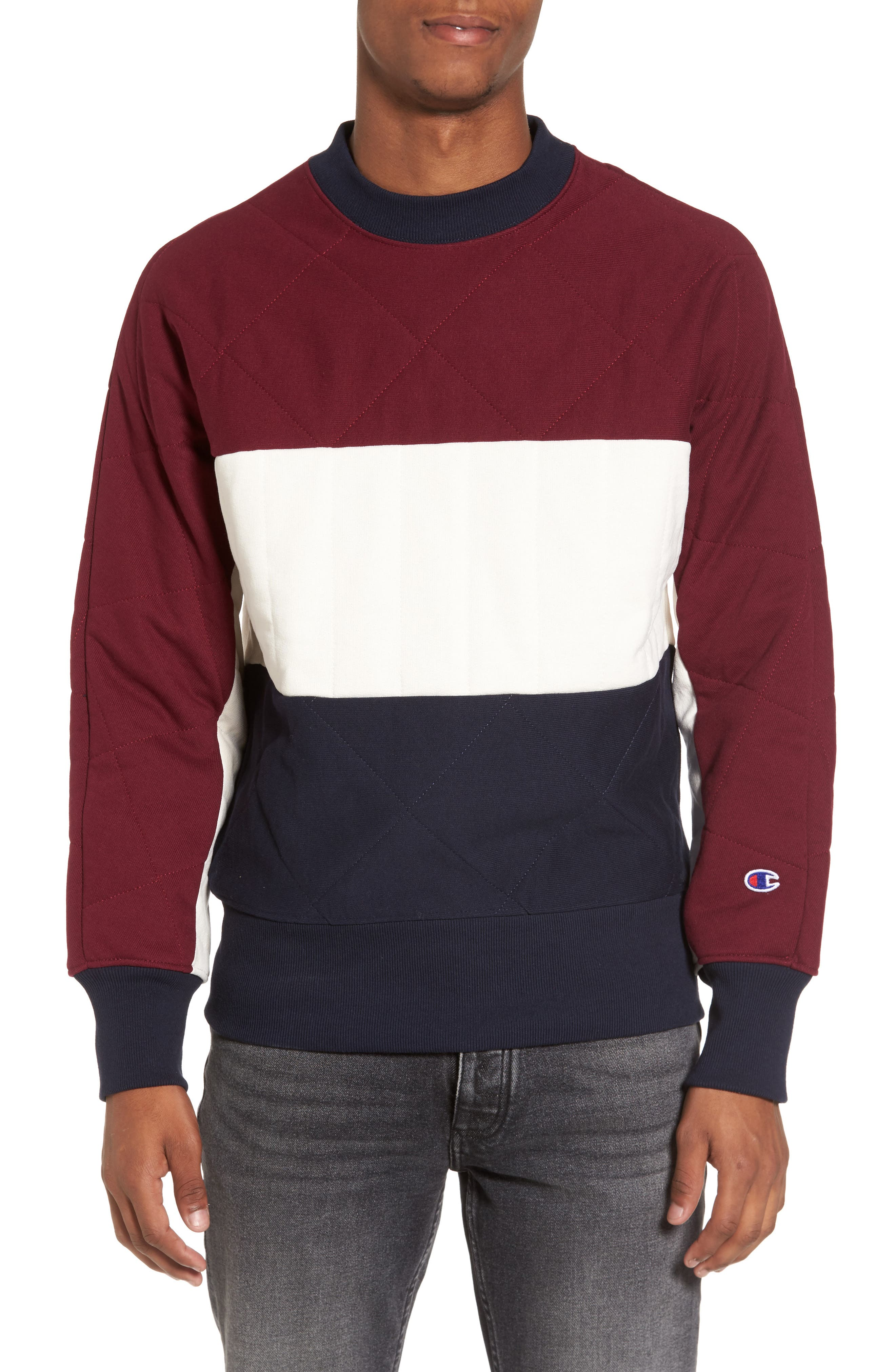 Quilted Colorblock Sweatshirt,                             Main thumbnail 1, color,                             Burgundy