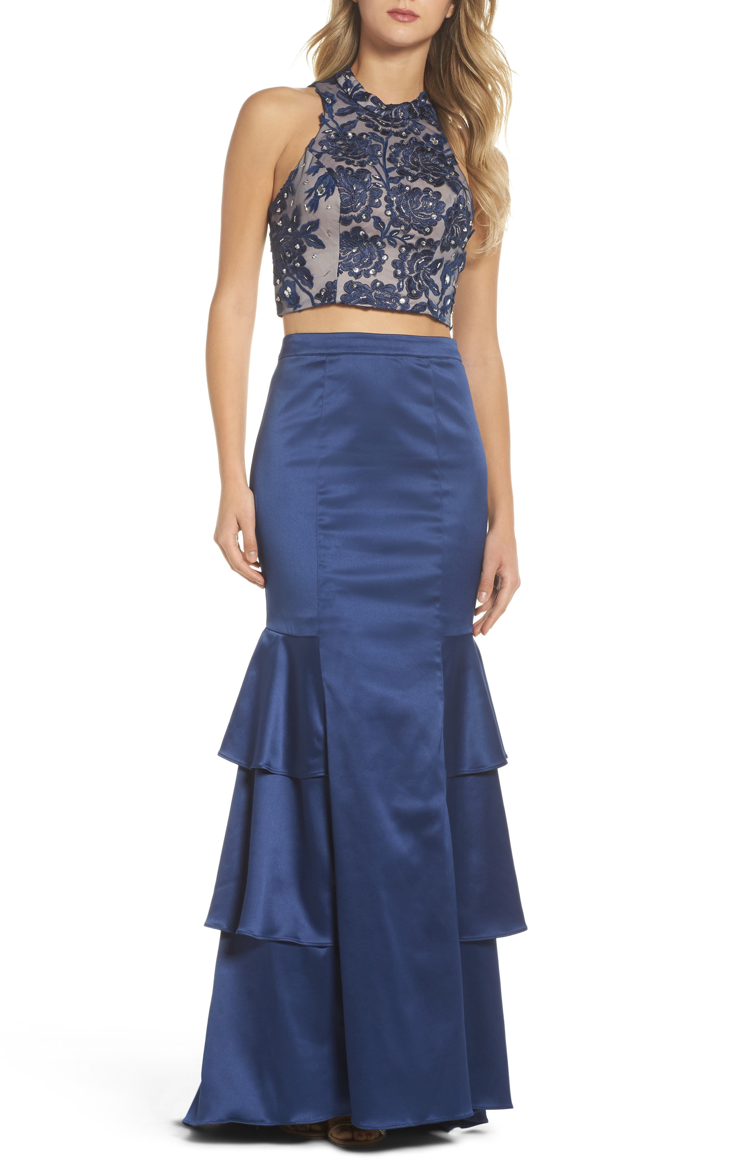 Beaded Lace & Satin Two-Piece Gown,                             Main thumbnail 1, color,                             Navy/ Mauve