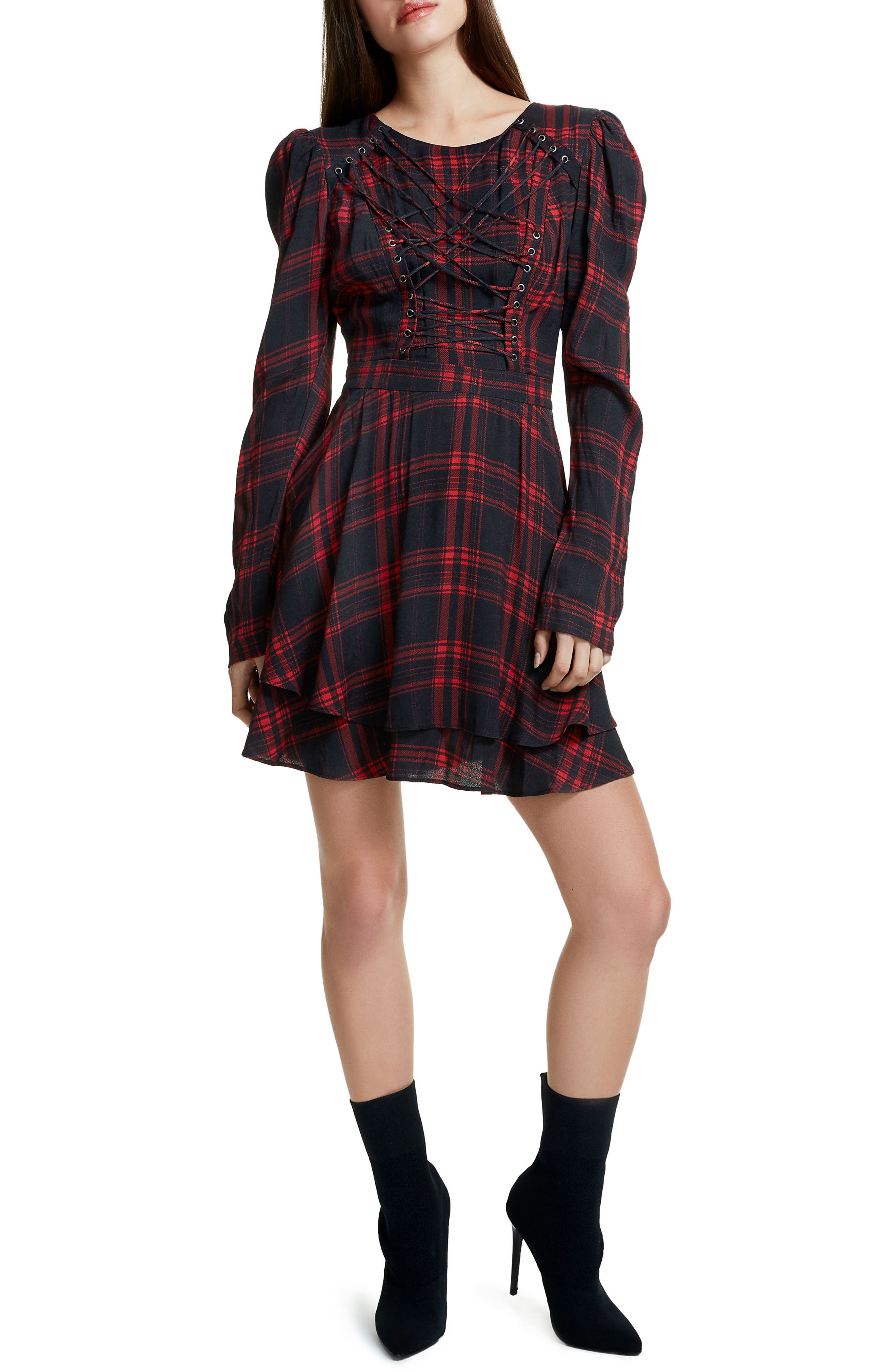 Avery Strappy Babydoll Dress,                         Main,                         color, Plaid