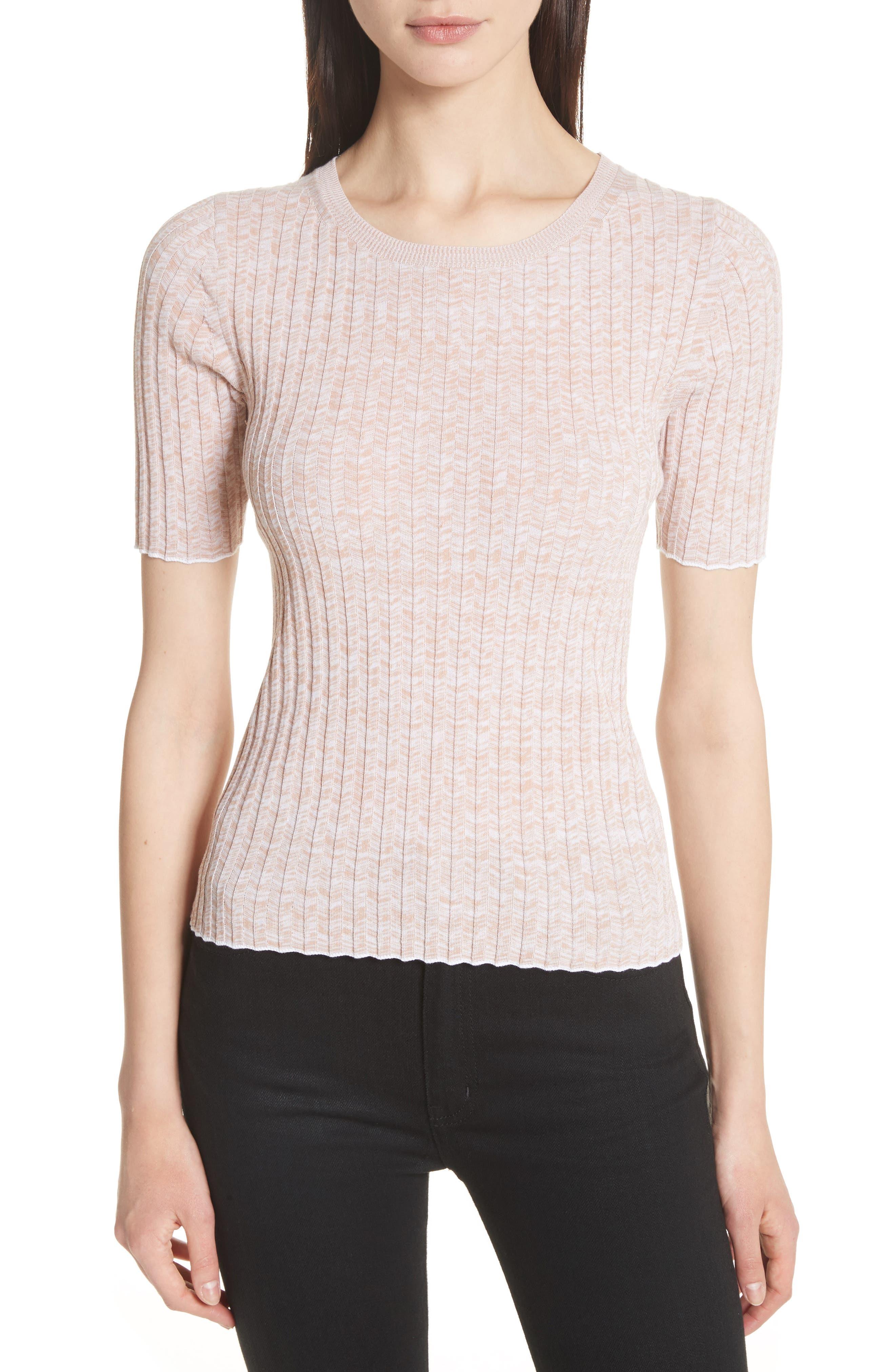 Marled Rib Knit Crewneck Sweater,                             Main thumbnail 1, color,                             Rose/ White/ White