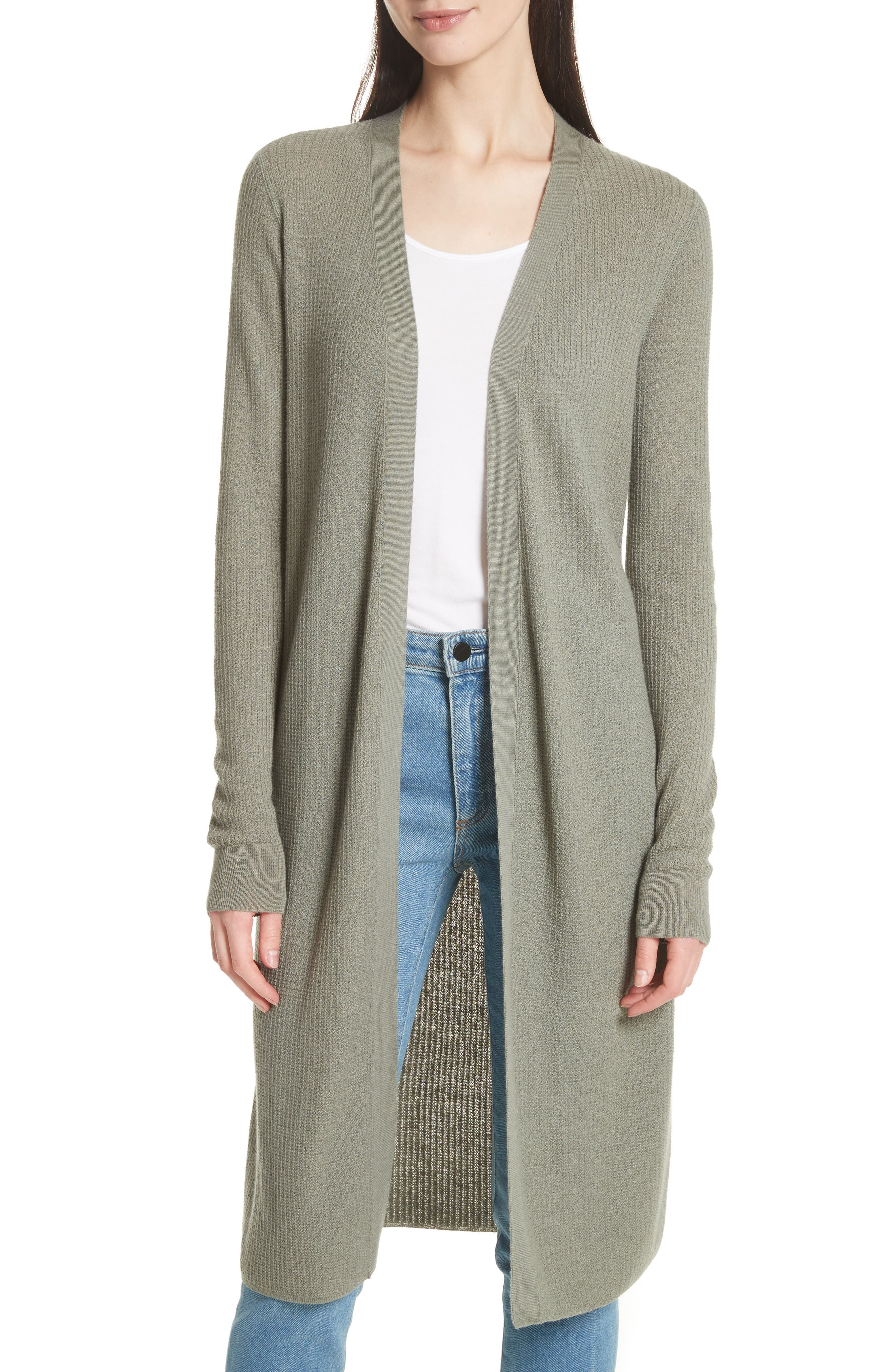 Torina Long Cashmere Cardigan,                         Main,                         color, Faded Army