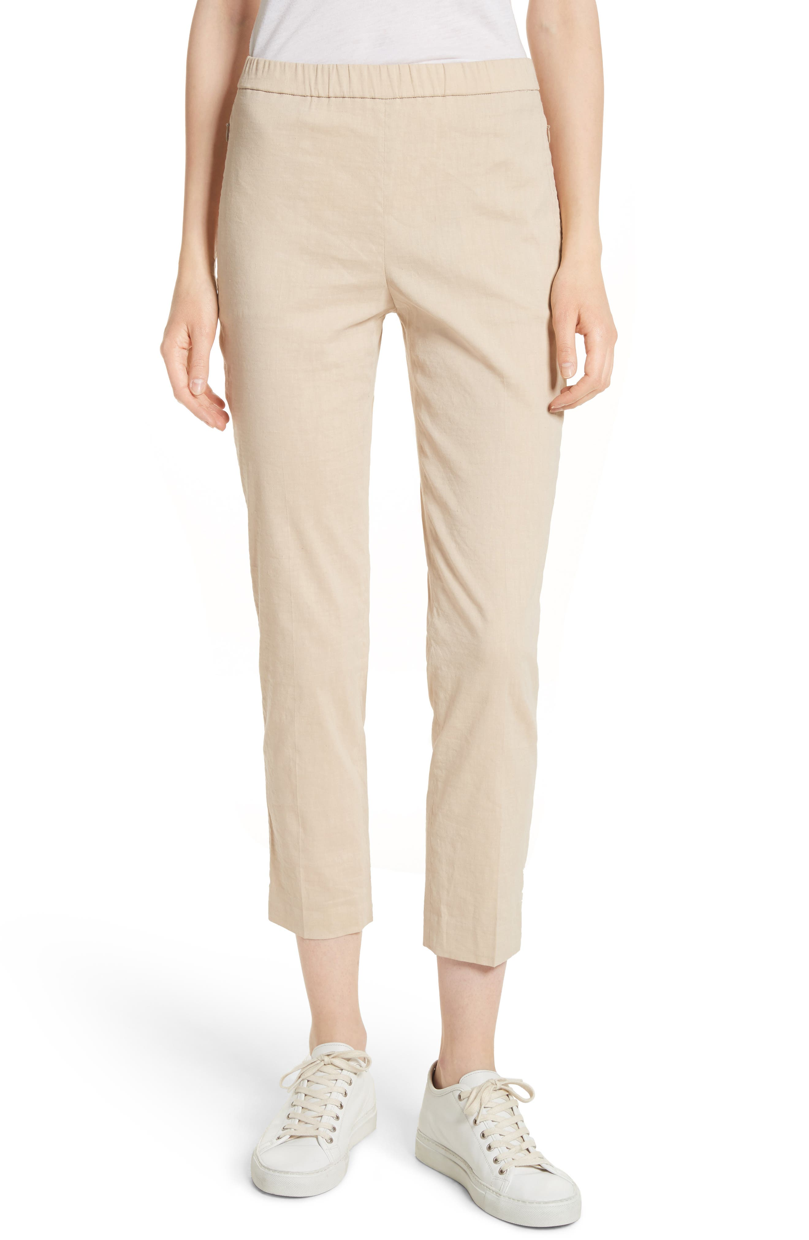 Pull-On Linen Blend Pants,                         Main,                         color, Light Wheat