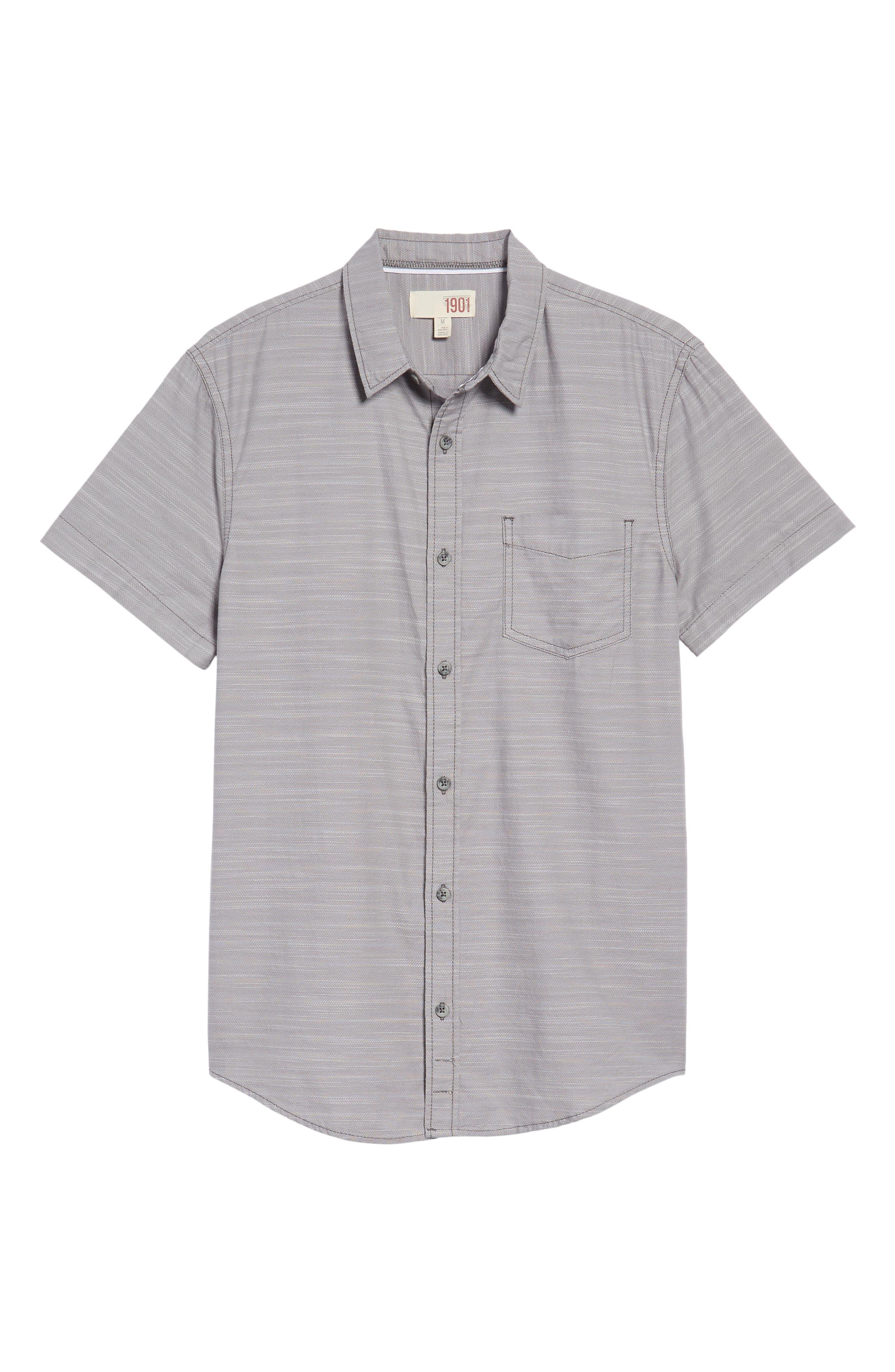 Herringbone Chambray Shirt,                             Alternate thumbnail 6, color,                             Grey Filigree Herringbone