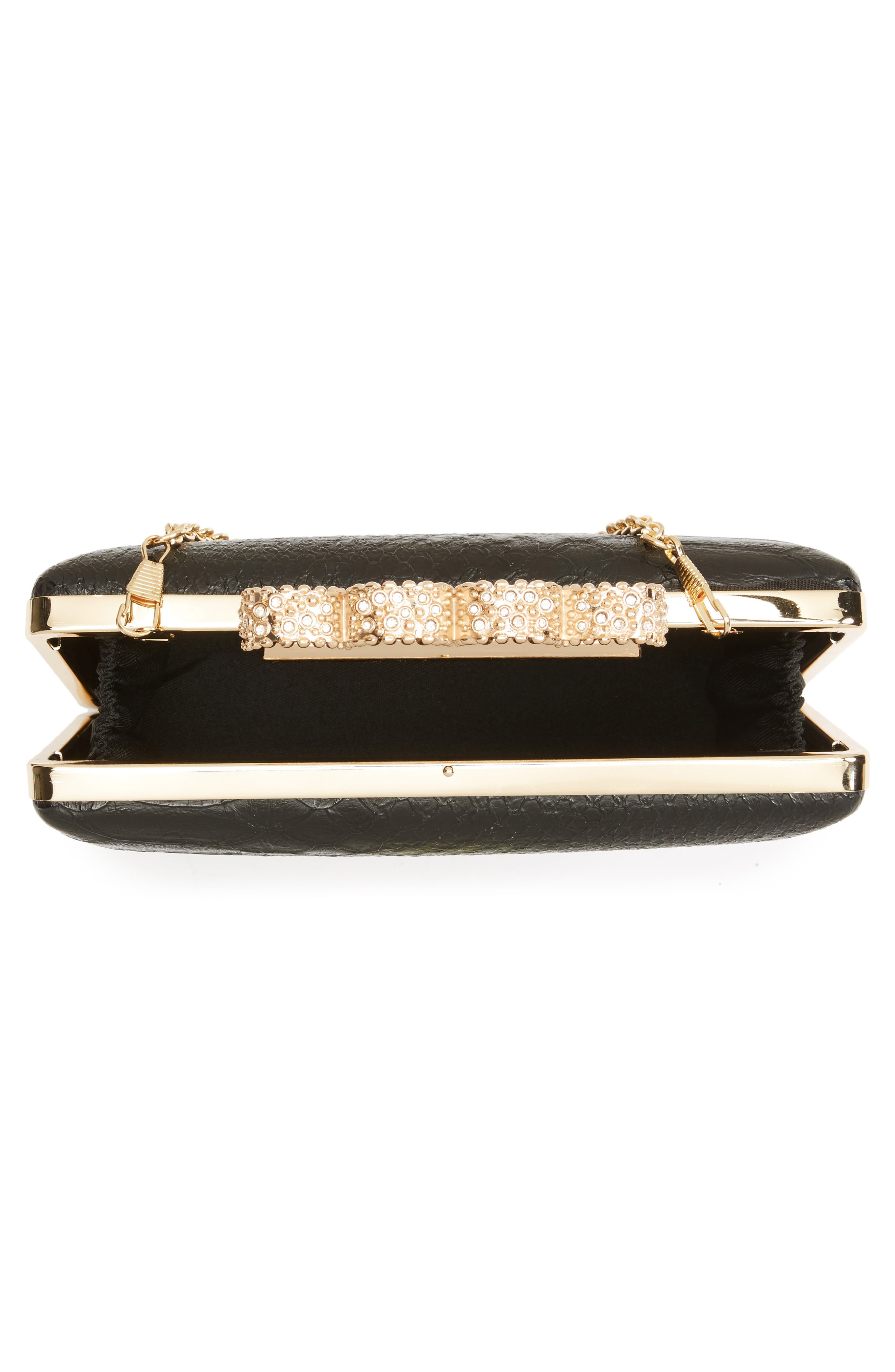 Knuckle Box Clutch,                             Alternate thumbnail 4, color,                             Gold/ Black