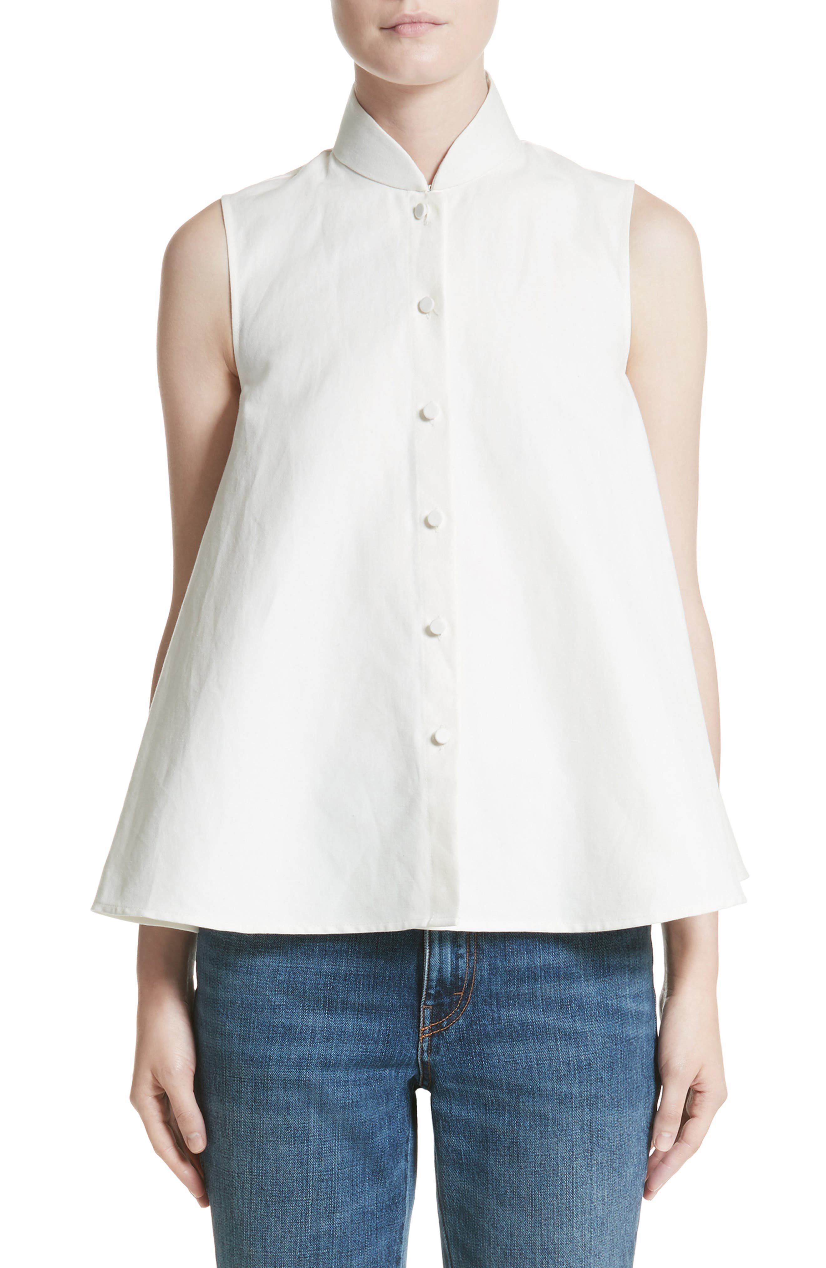 Linen & Cotton Swing Top,                         Main,                         color, Ivory