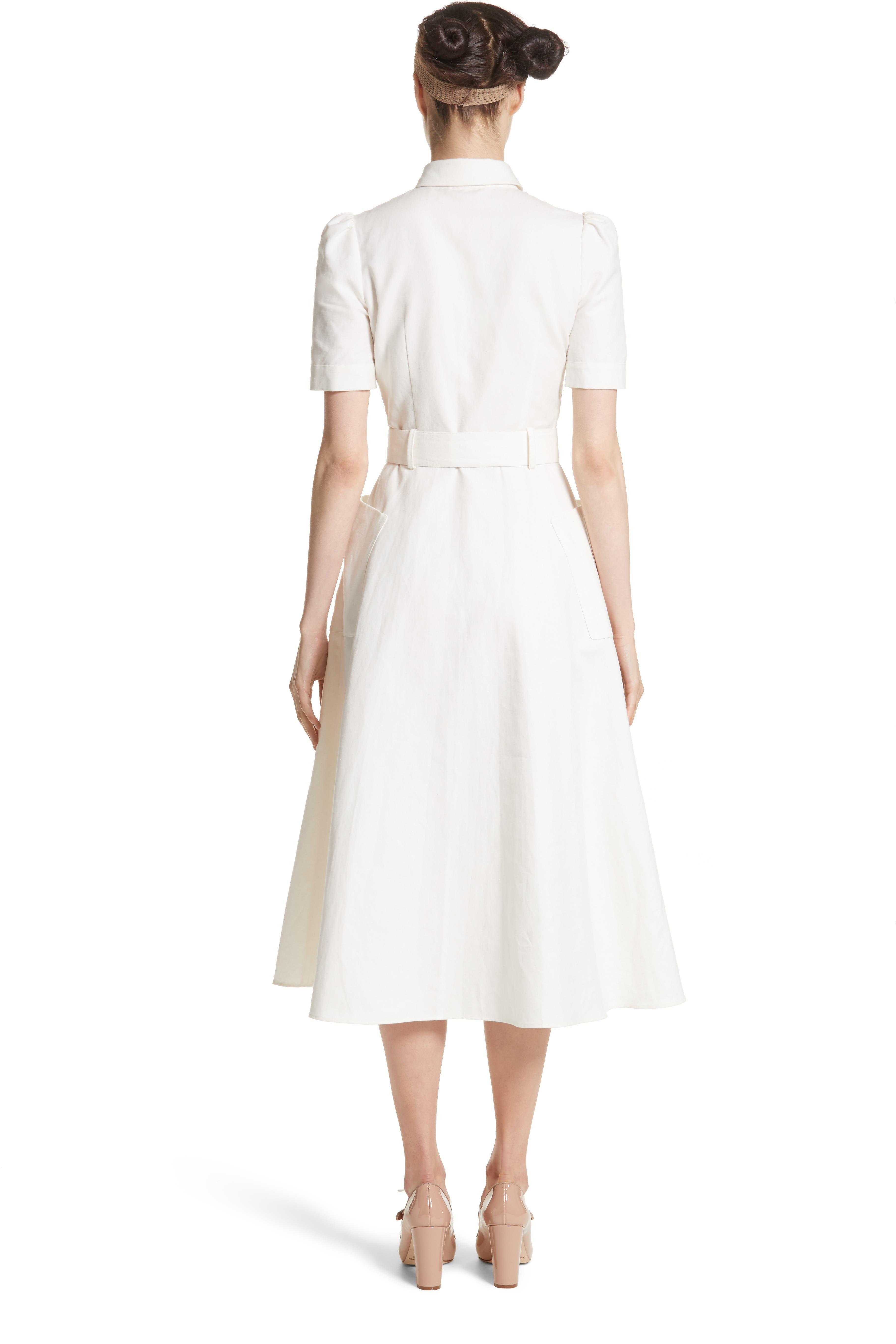 Linen & Cotton Shirtdress,                             Alternate thumbnail 2, color,                             Ivory