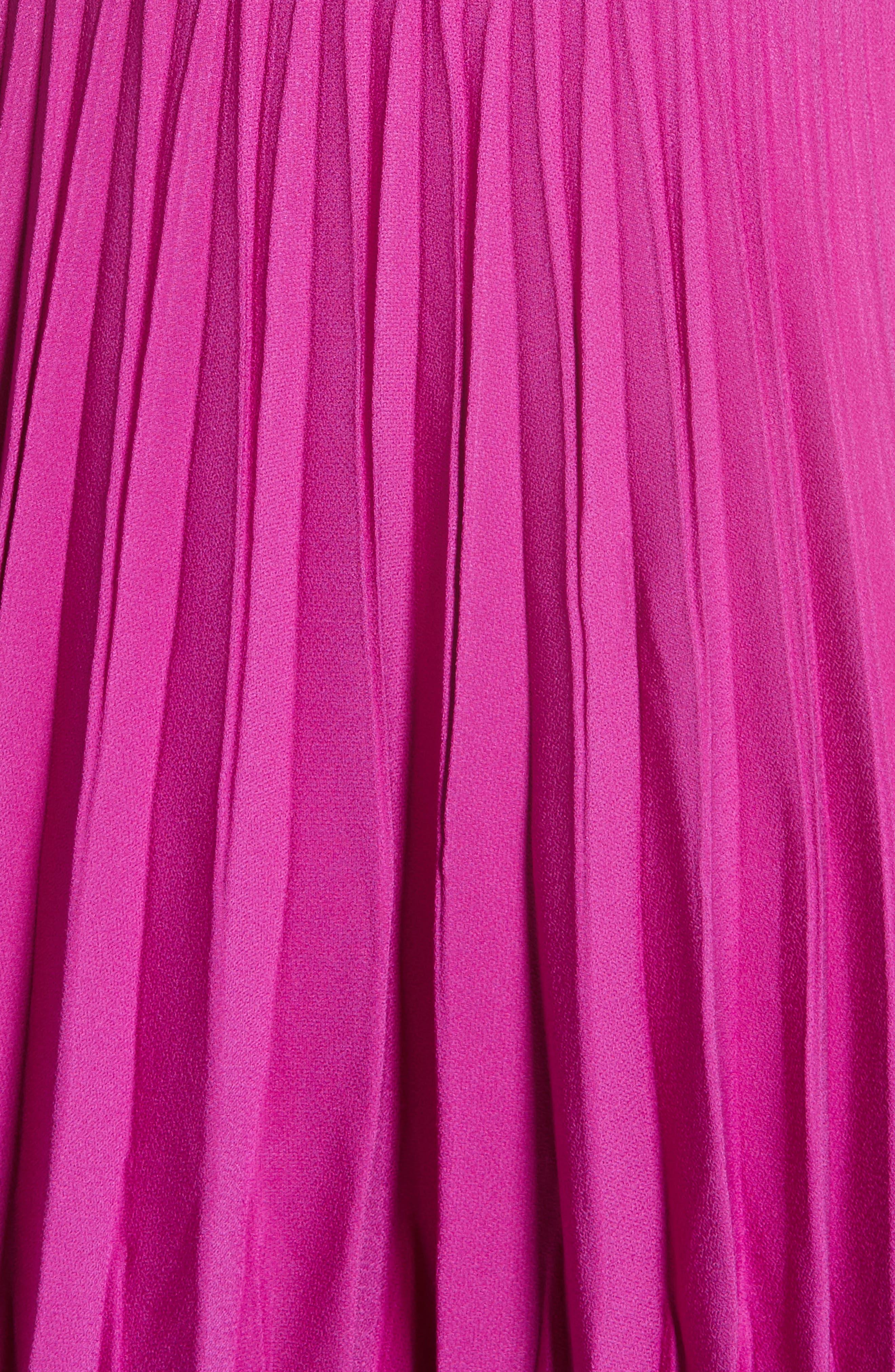 Ruffle & Pleated Midi Dress,                             Alternate thumbnail 7, color,                             Magenta