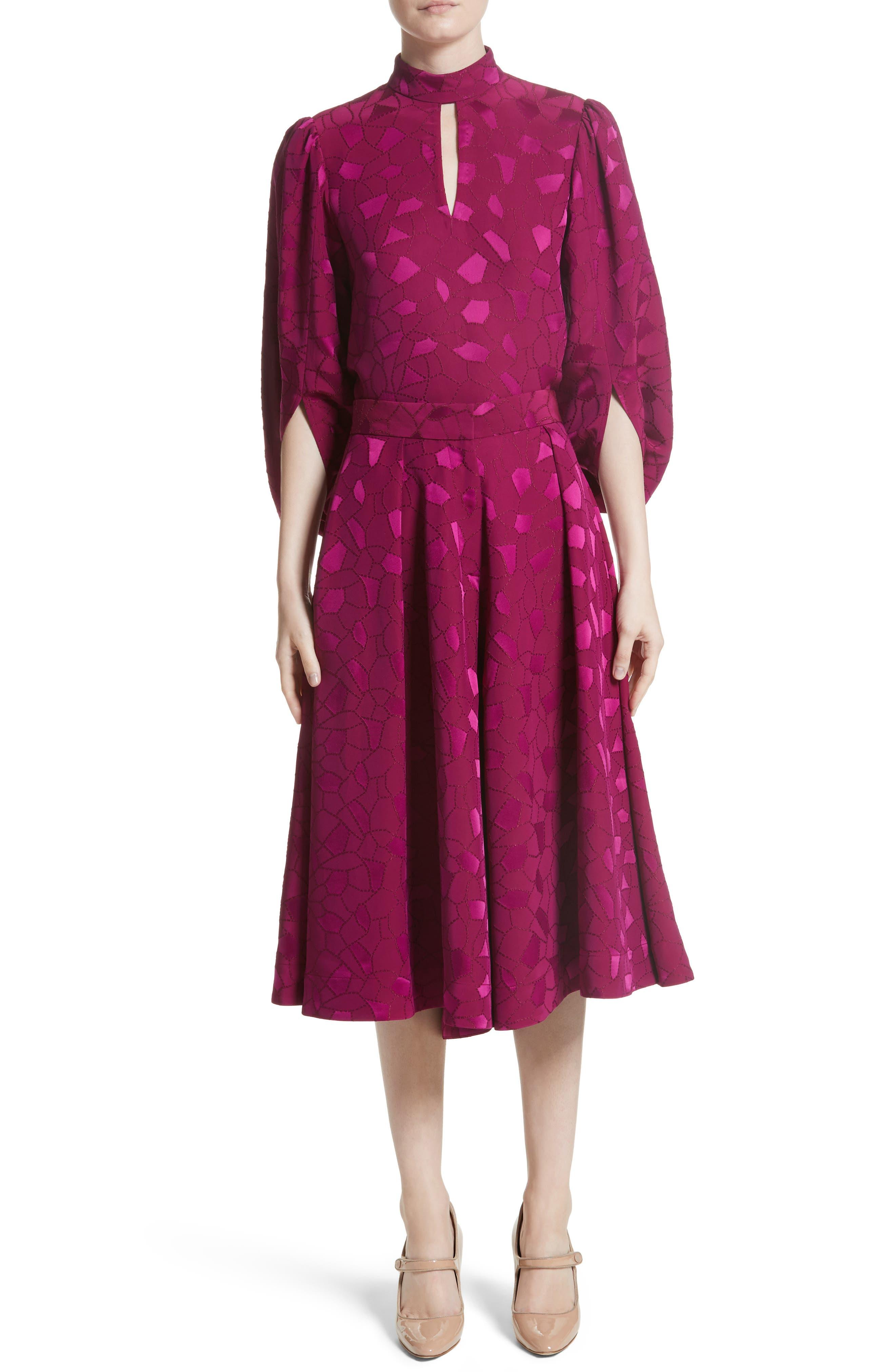 Mosaic Jacquard Midi Skirt,                             Alternate thumbnail 8, color,                             Pink