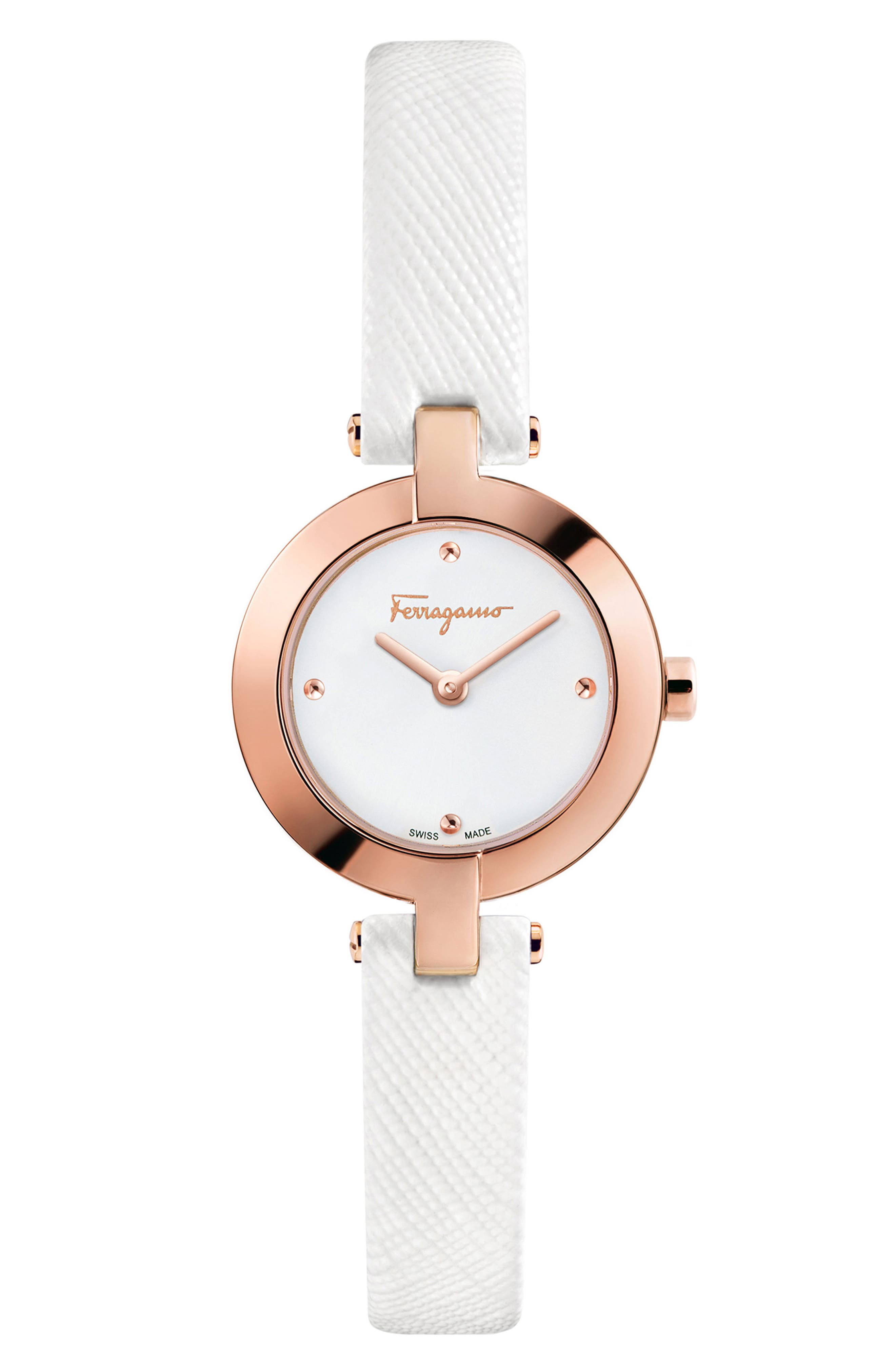 Miniature Leather Strap Watch, 26mm,                         Main,                         color, White/ Silver/ Rose Gold