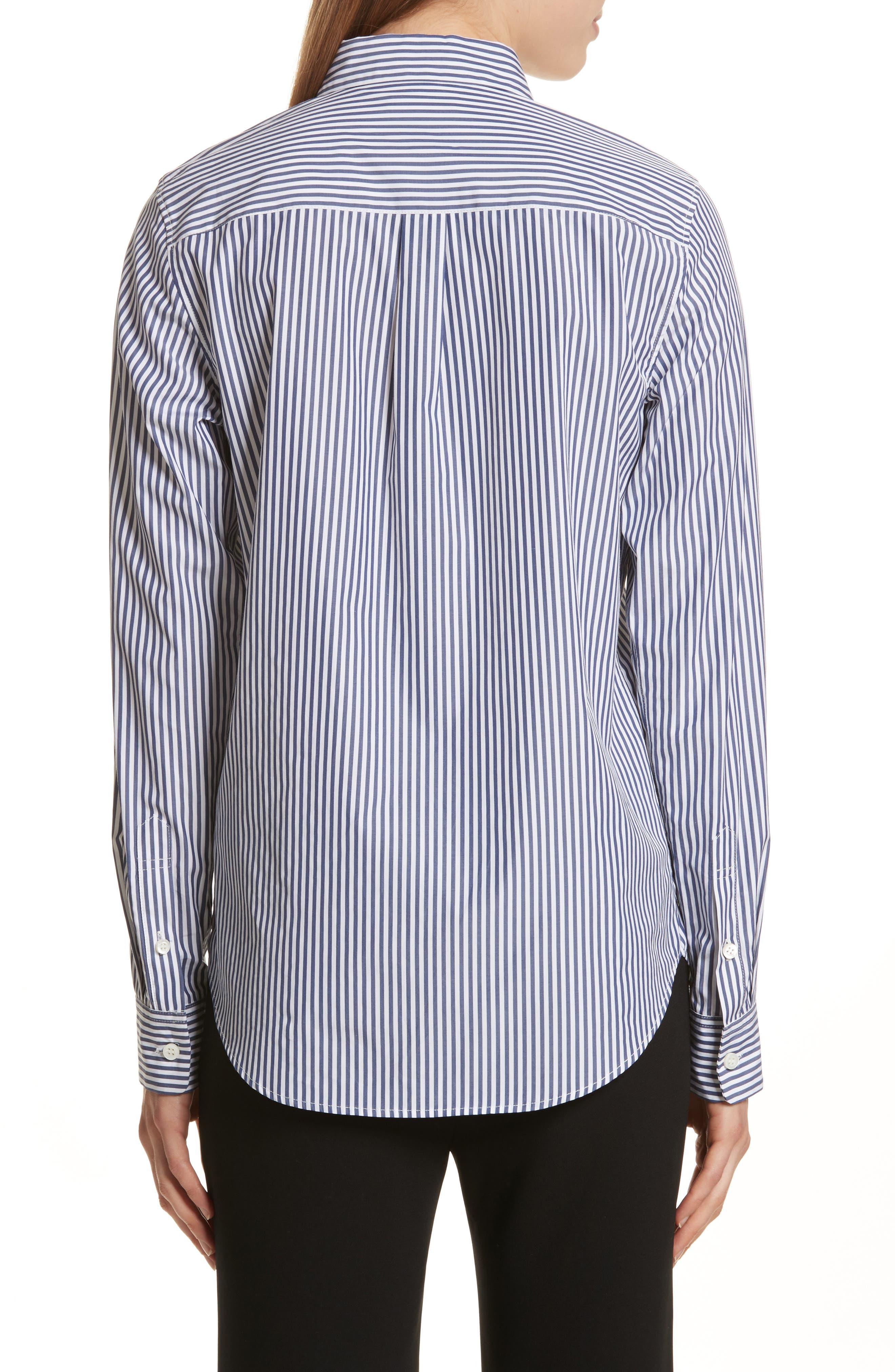 Essential Button Down Cotton Shirt,                             Alternate thumbnail 2, color,                             Blue/ White
