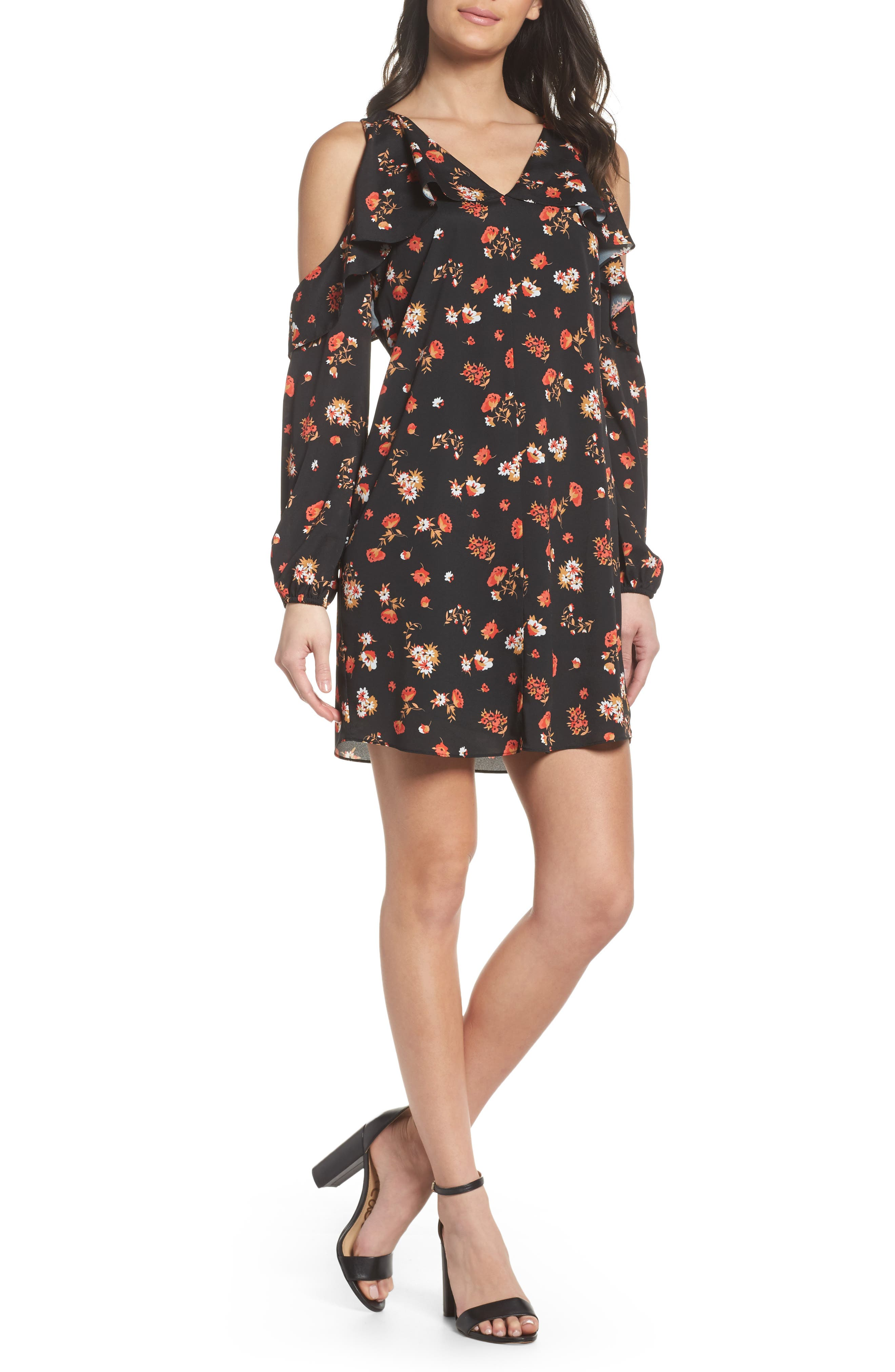 Tamar Cold Shoulder Shift Dress,                         Main,                         color, Black Multi
