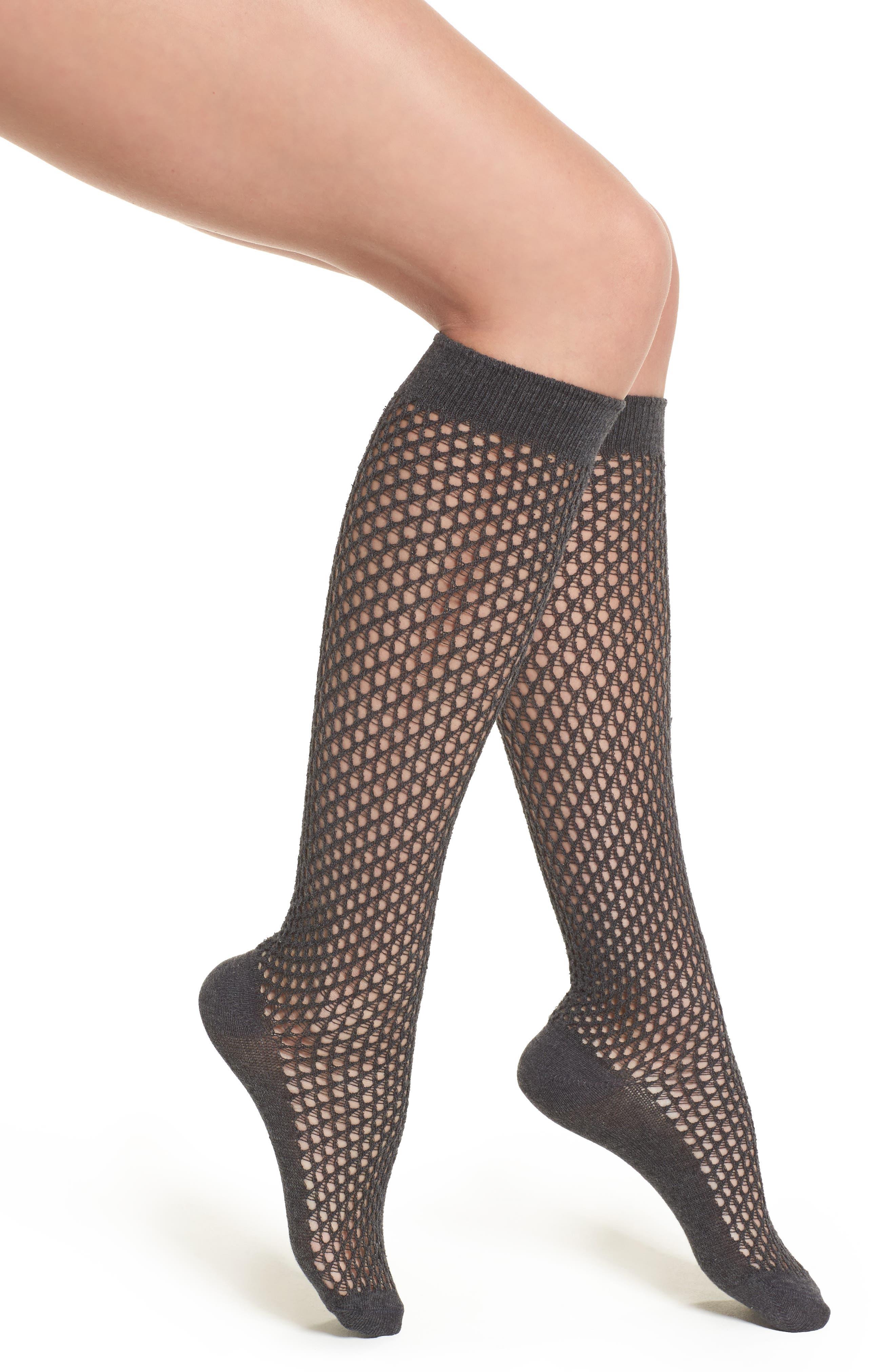 Gabmaletto Fishnet Knee High Socks,                         Main,                         color, Grey Melange