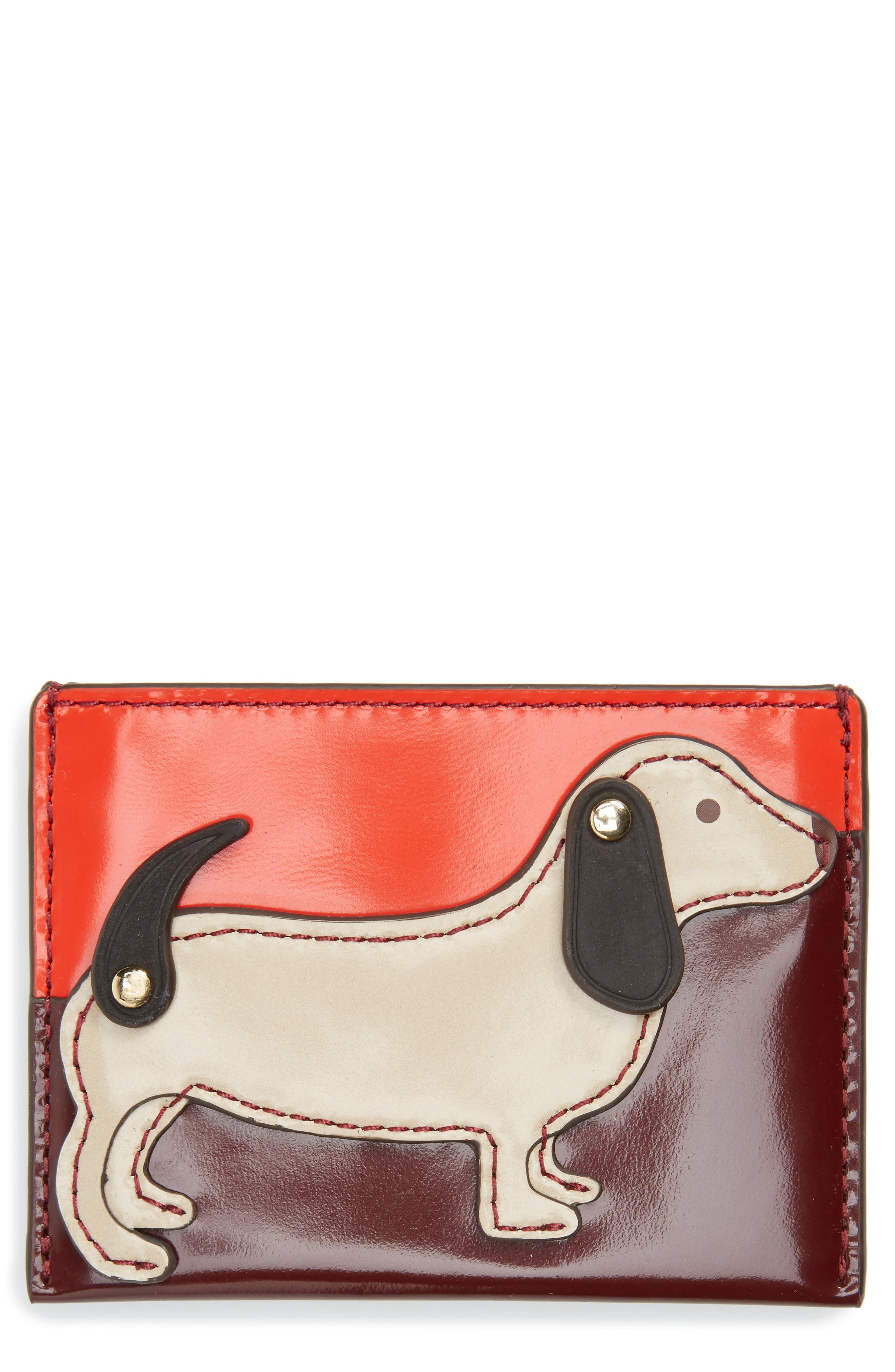 Dachshund Slim Leather Card Case,                         Main,                         color, Liberty Red