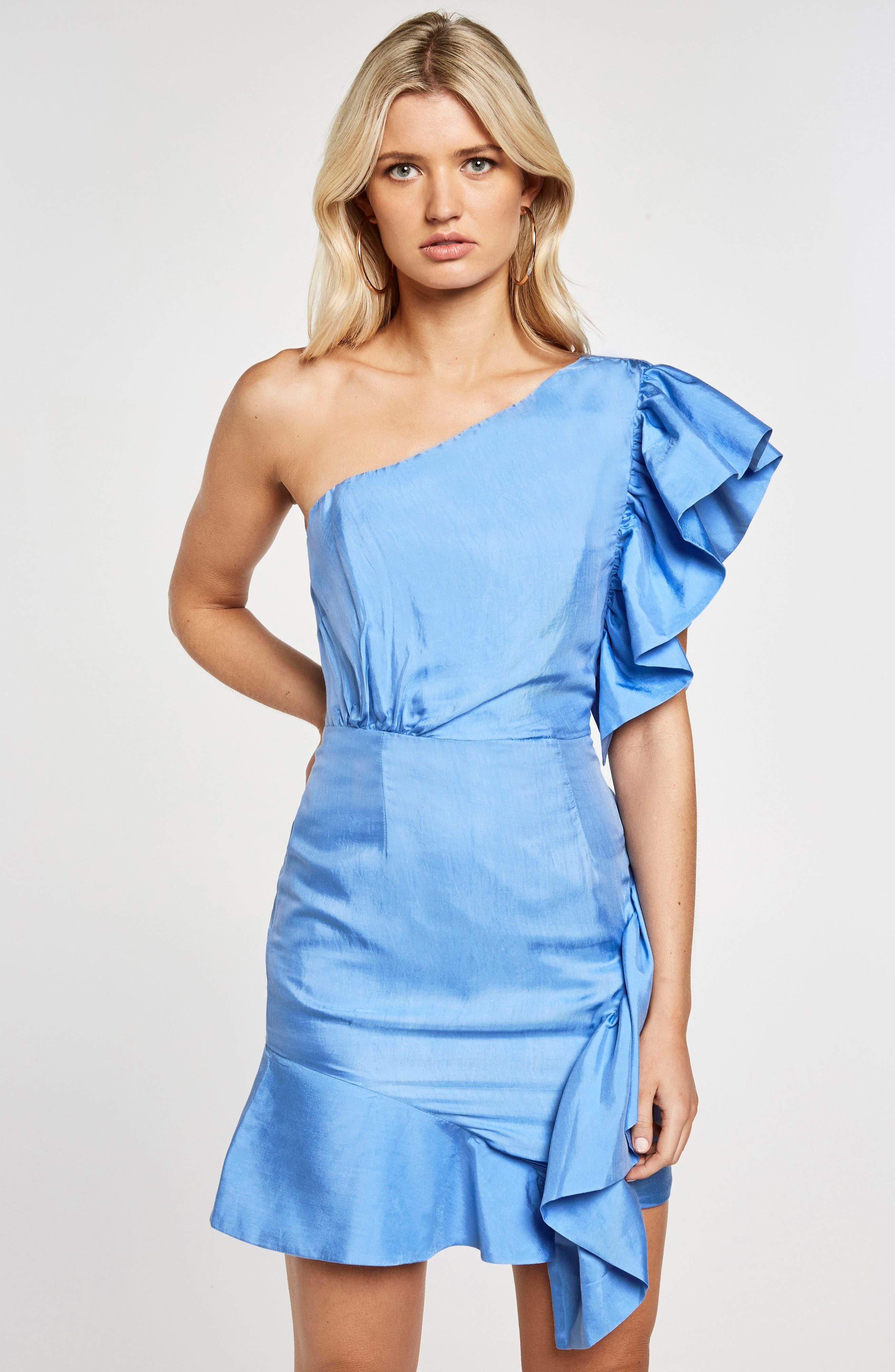 Lucia Frill One-Shoulder Dress,                             Alternate thumbnail 2, color,                             Marina Blue
