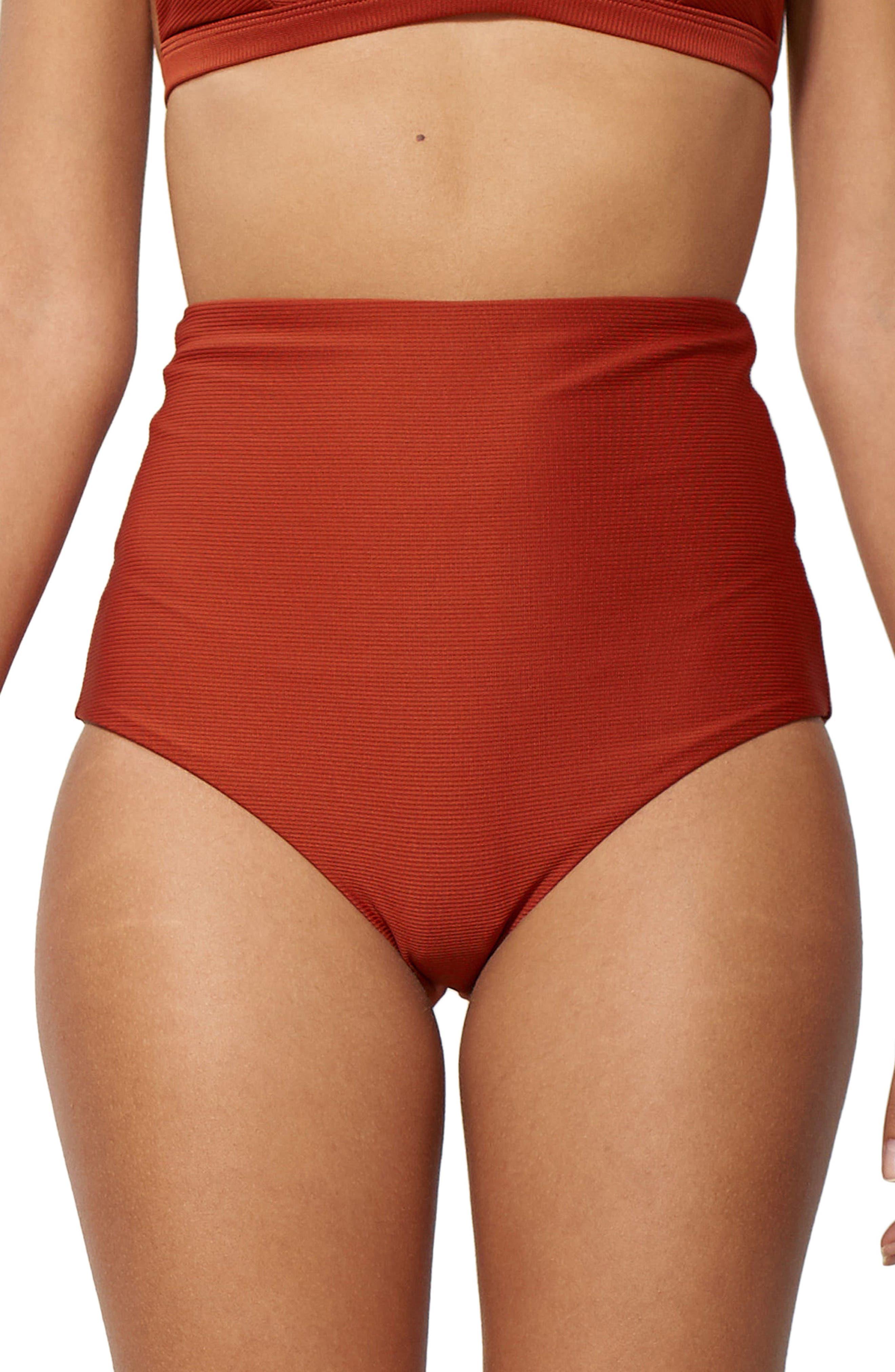 Lydia High Waist Bikini Bottoms,                         Main,                         color, Rust