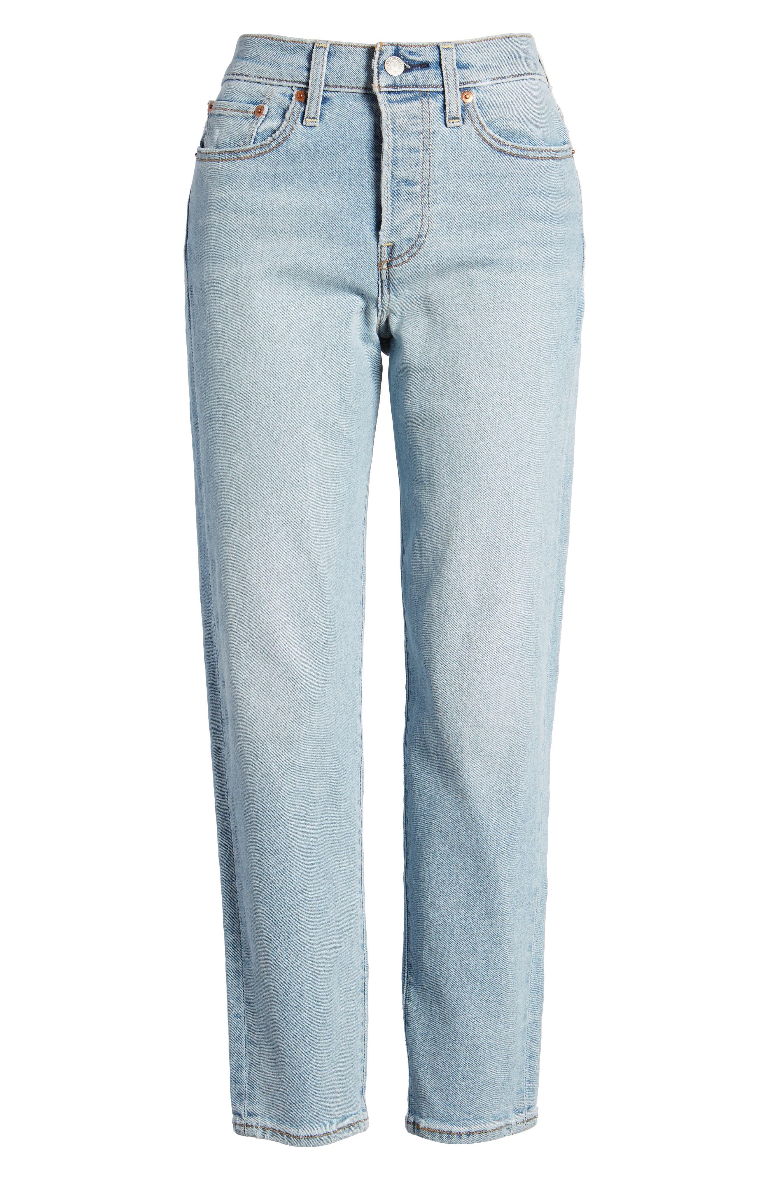 Wedgie Icon Fit High Waist Crop Jeans,                             Alternate thumbnail 7, color,                             Bauhaus Blues