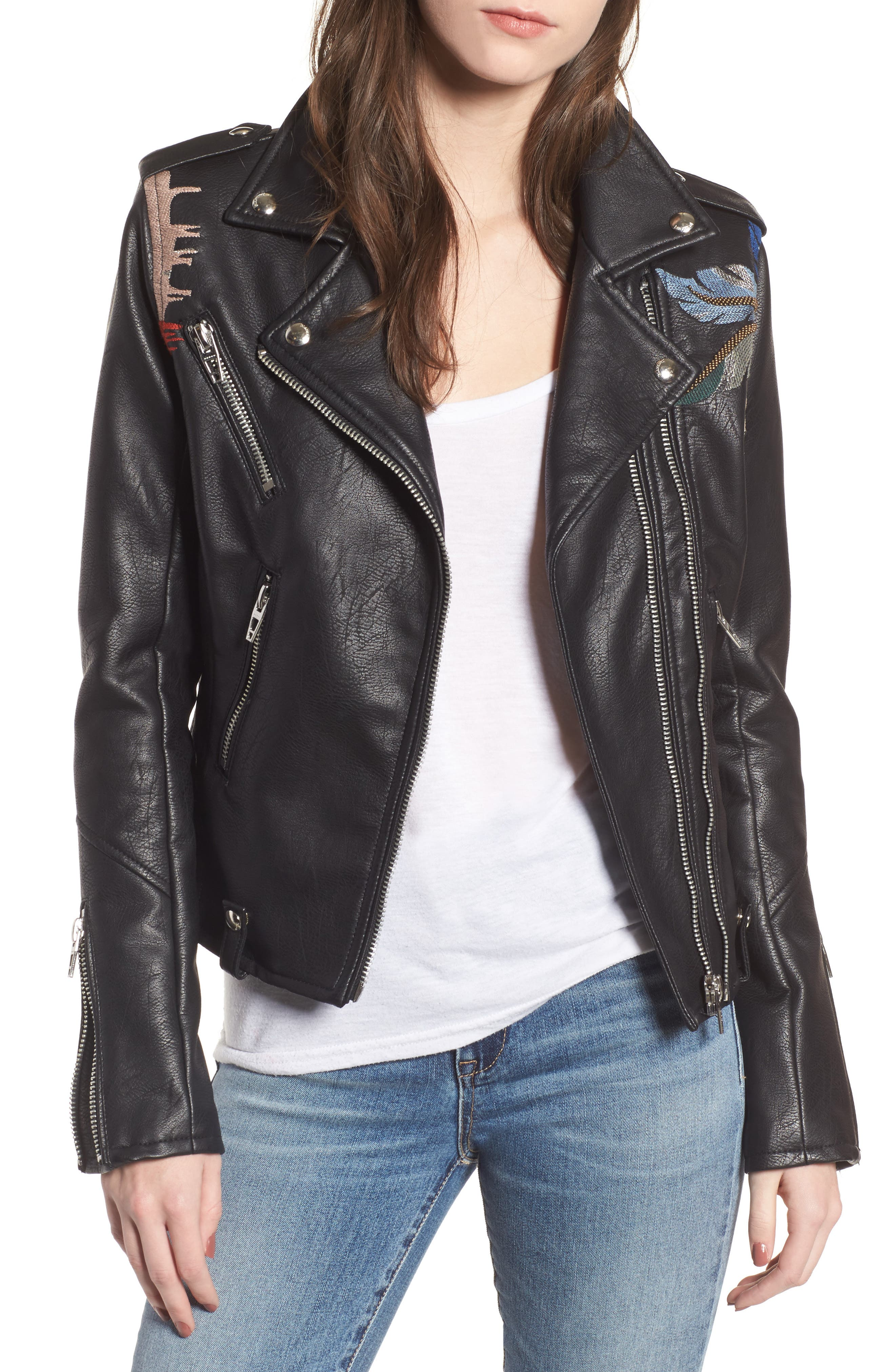 Embroidered Faux Leather Moto Jacket,                             Main thumbnail 1, color,                             Black