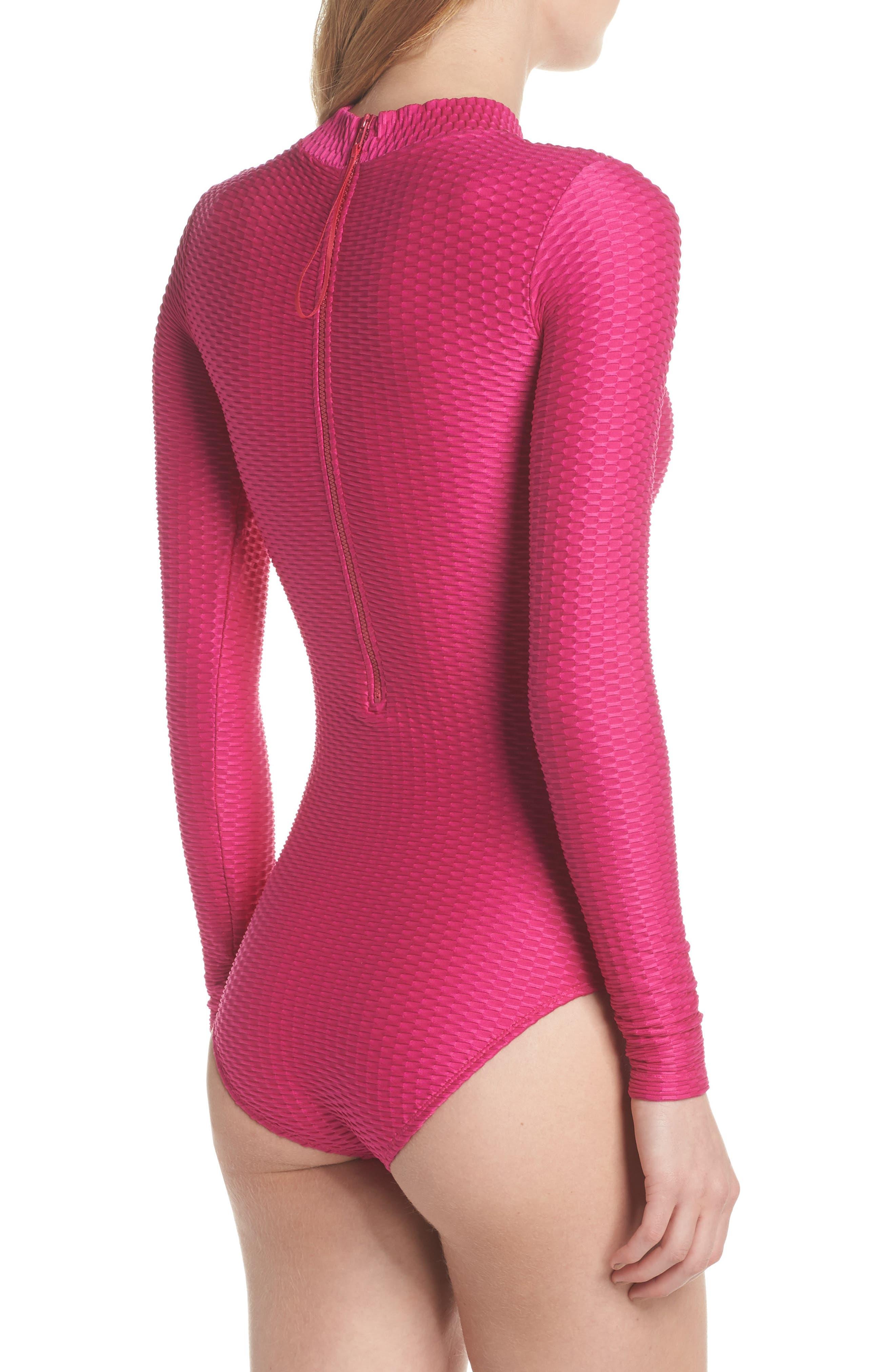Long Sleeve One-Piece Swimsuit,                             Alternate thumbnail 2, color,                             Fuchsia