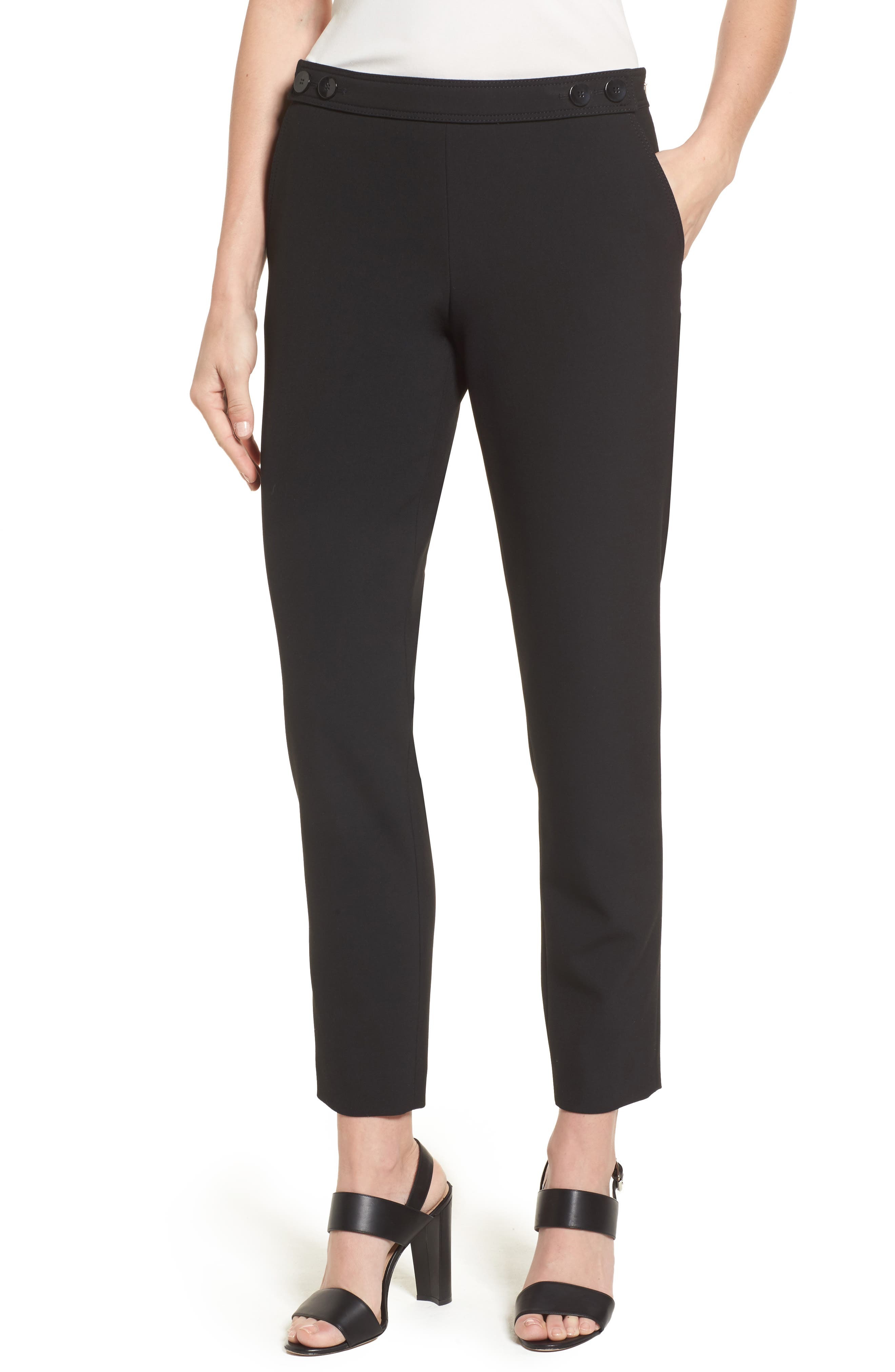 Tiokenia Slim Leg Trousers,                         Main,                         color, Black