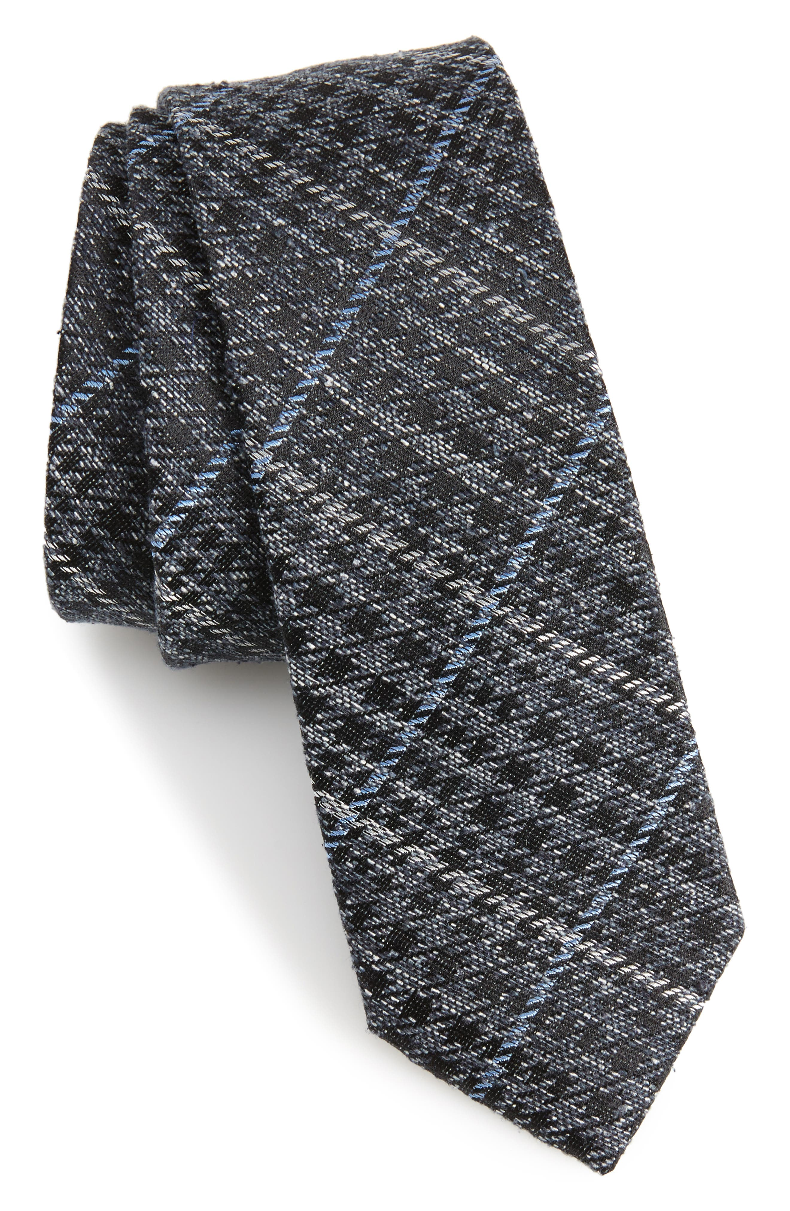 Quinn Plaid Silk Skinny Tie,                         Main,                         color, Navy