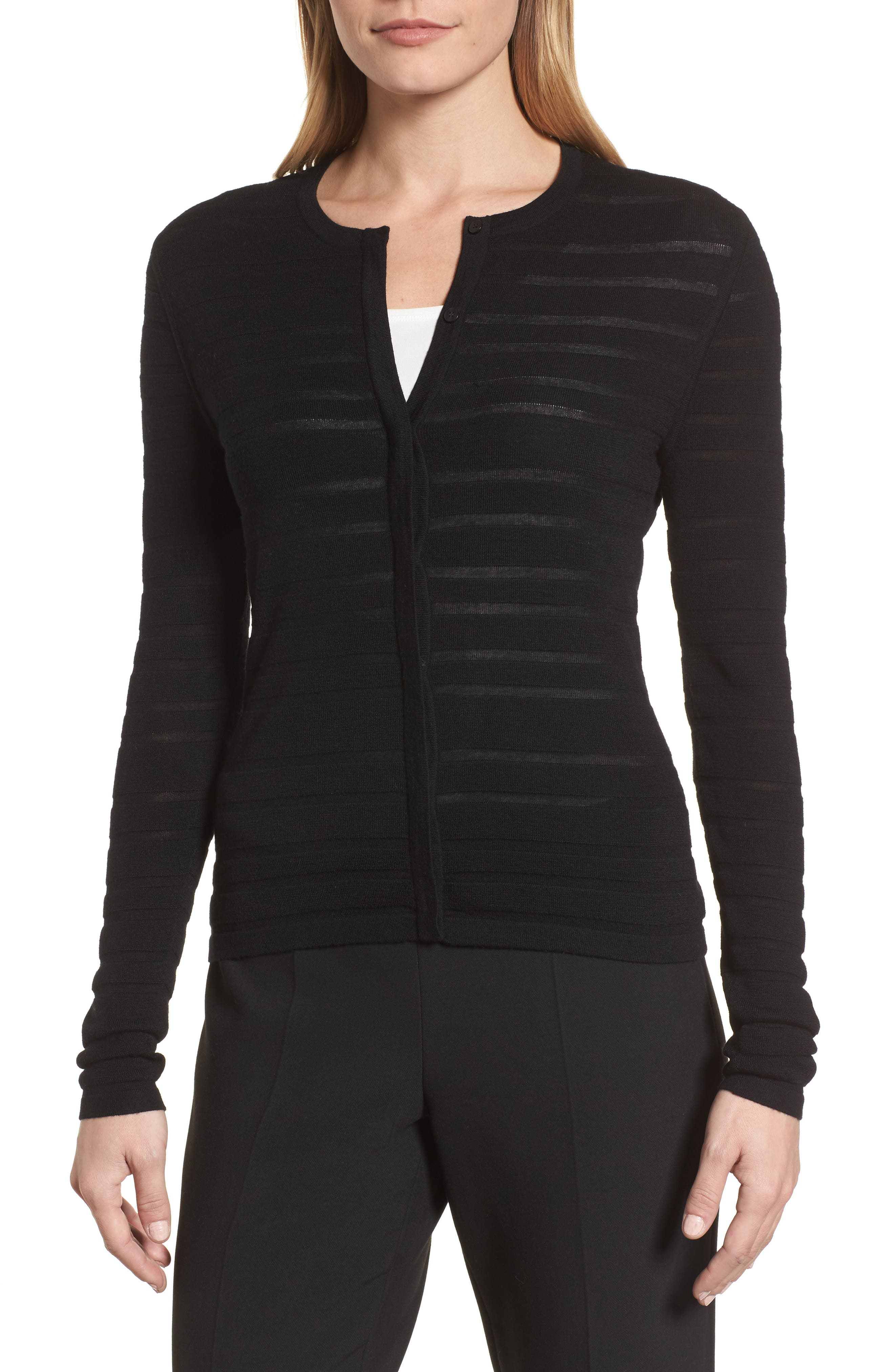 Fahsa Stripe Textured Wool Cardigan,                             Alternate thumbnail 4, color,                             Black