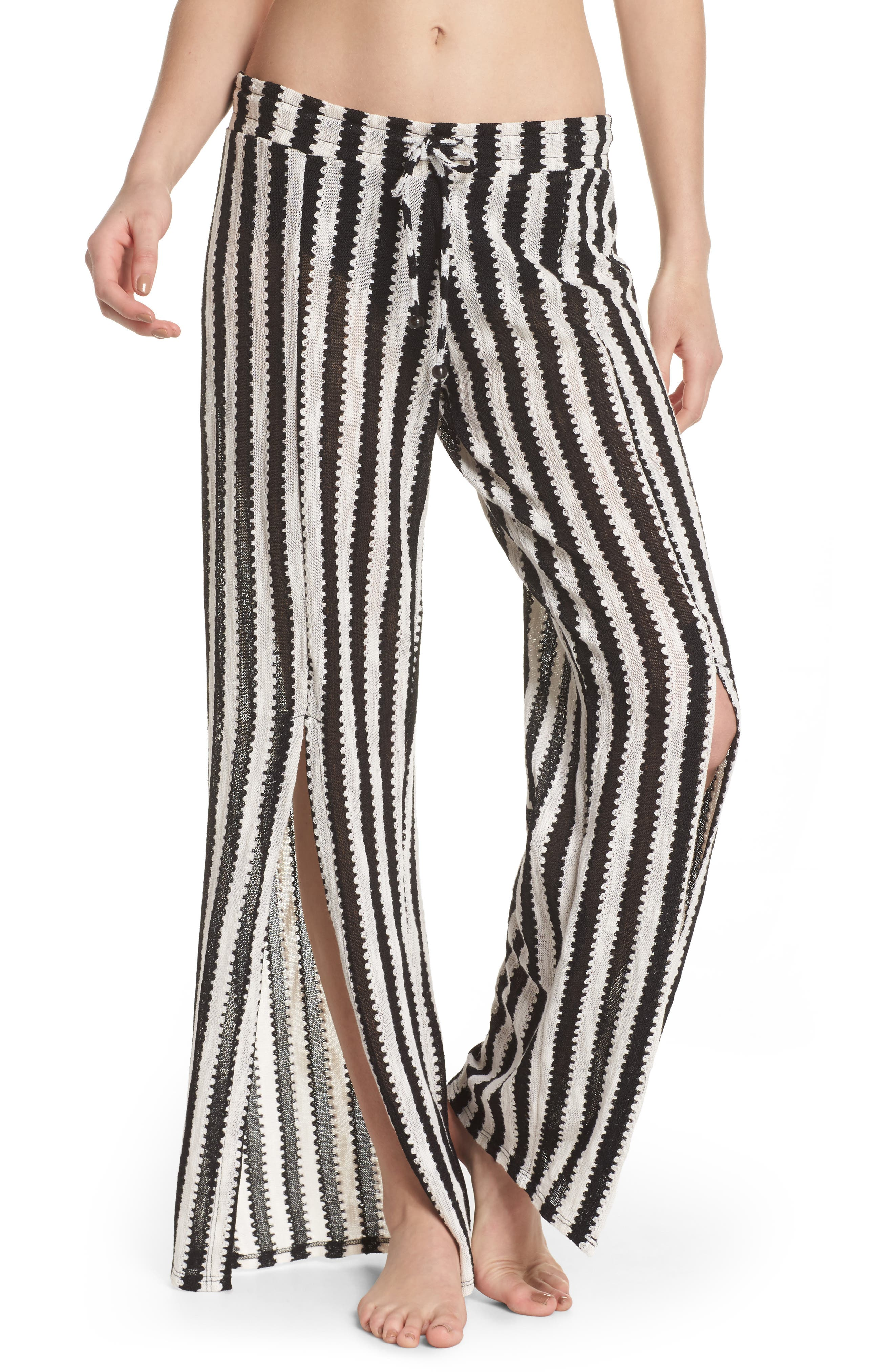 Ships Ahoy Cover-Up Pants,                         Main,                         color, Black And White