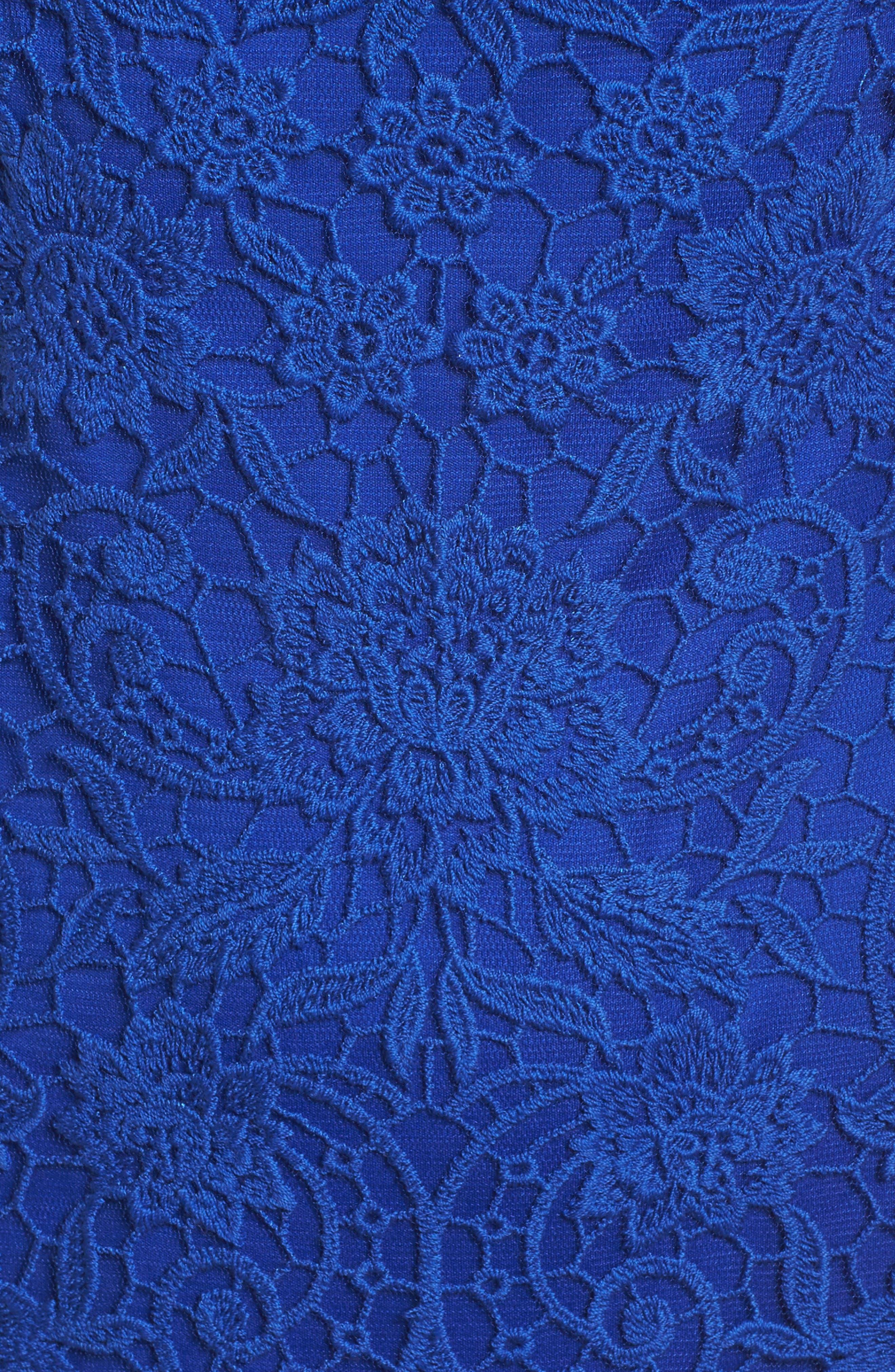Crochet Sheath Dress,                             Alternate thumbnail 5, color,                             Horizon Blue