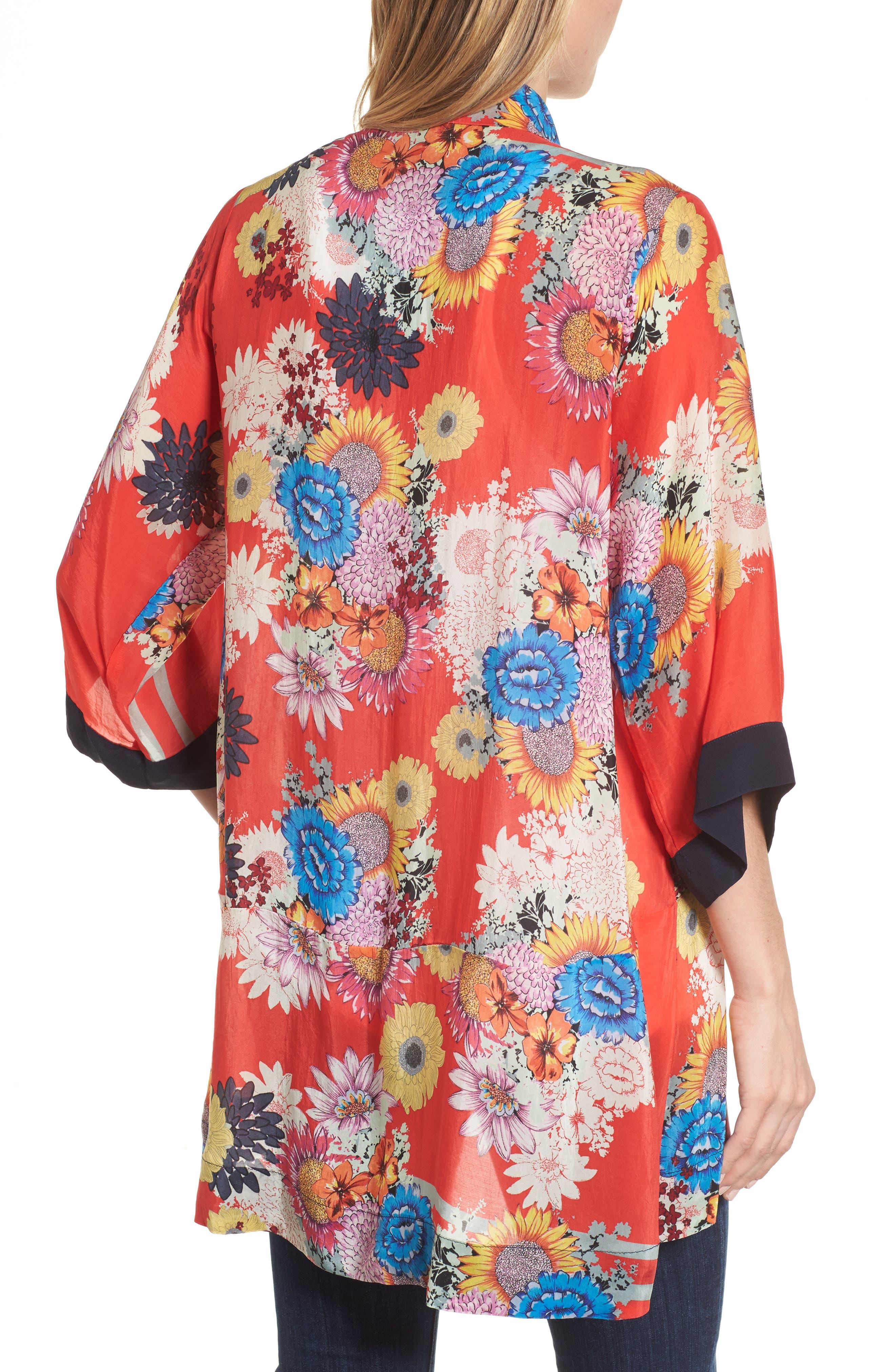Alternate Image 2  - Johnny Was Mishka Embroidered Silk Kimono