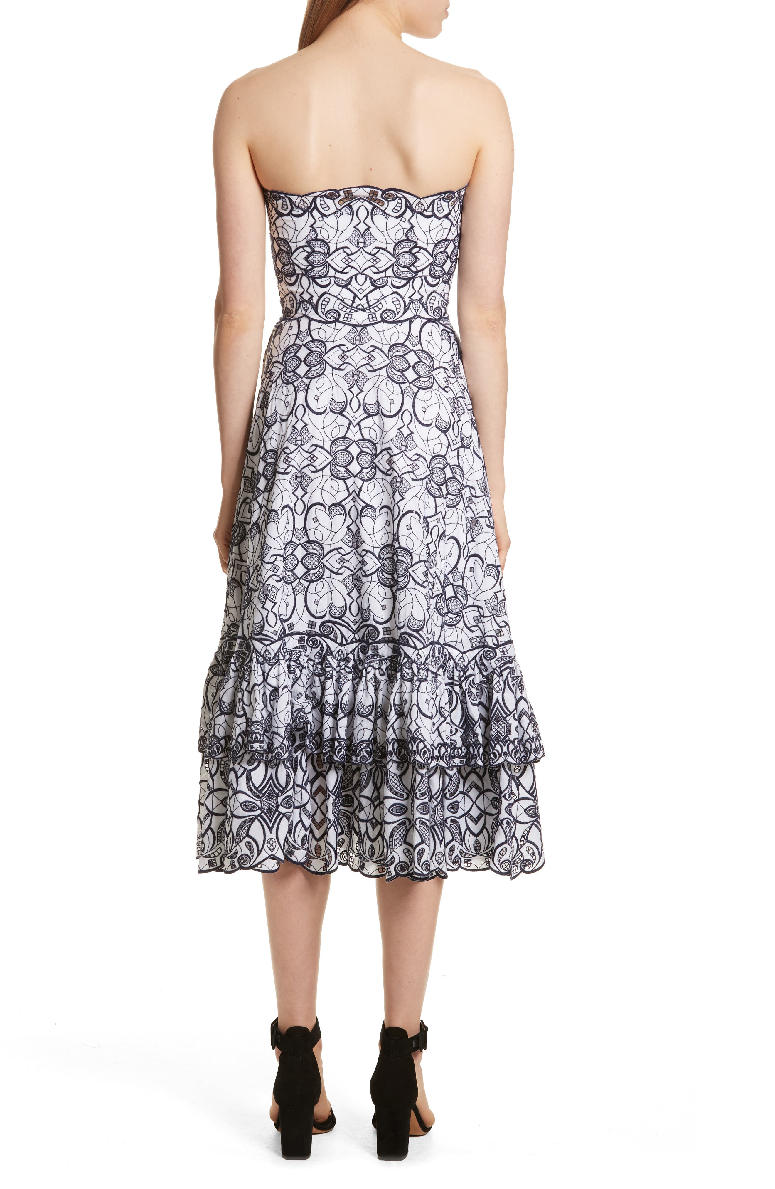 Scallop Hem Embroidered Strapless Dress,                             Alternate thumbnail 2, color,                             White/ Midnight