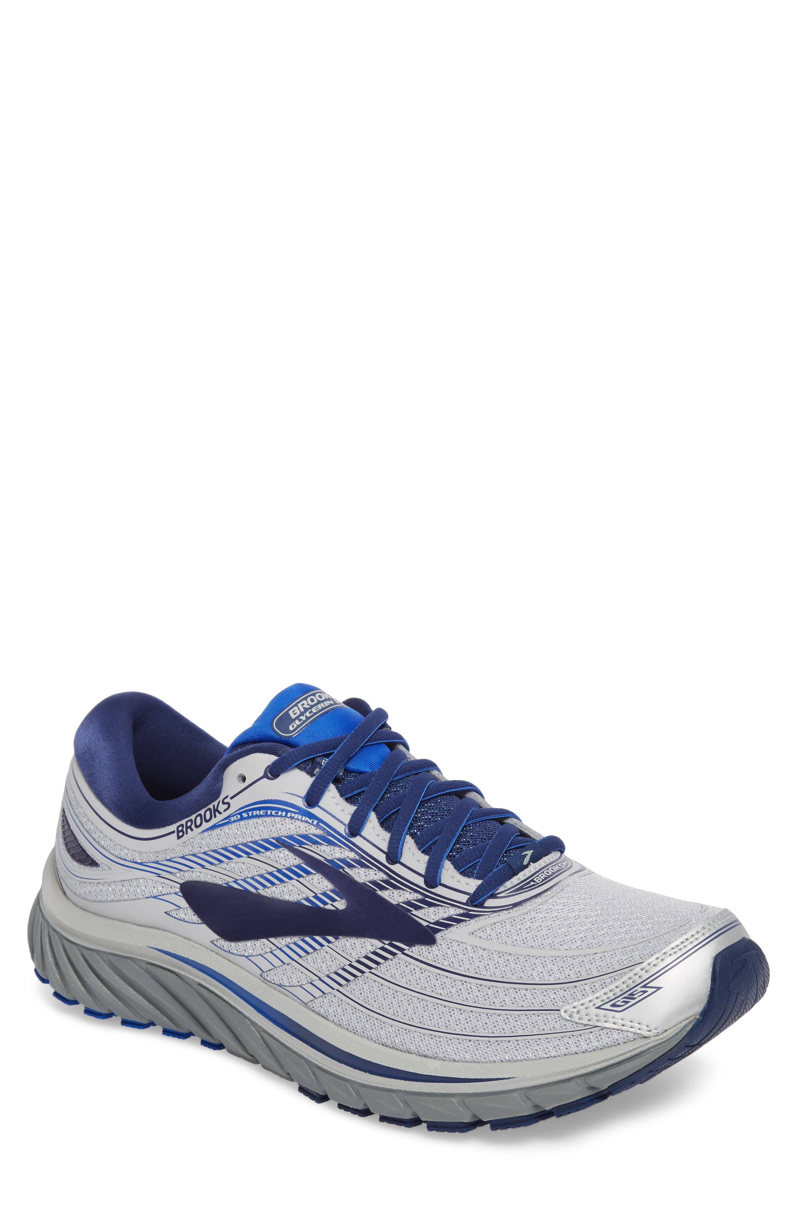 Glycerin 15 Running Shoe,                         Main,                         color, Silver/ Navy/ Blue