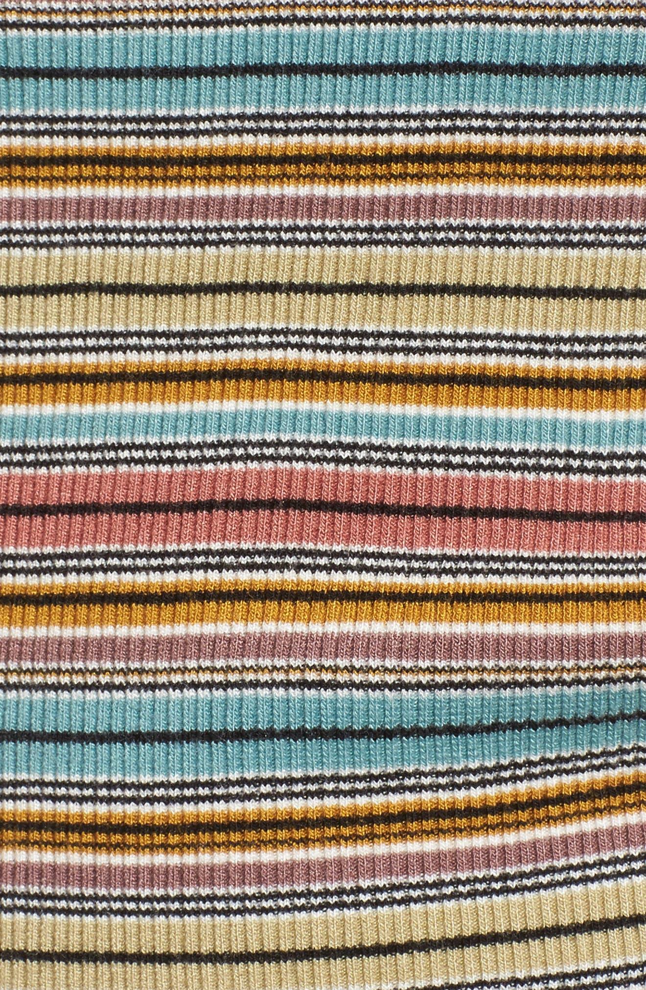 Motives Stripe Ribbed Tee,                             Alternate thumbnail 5, color,                             Multi
