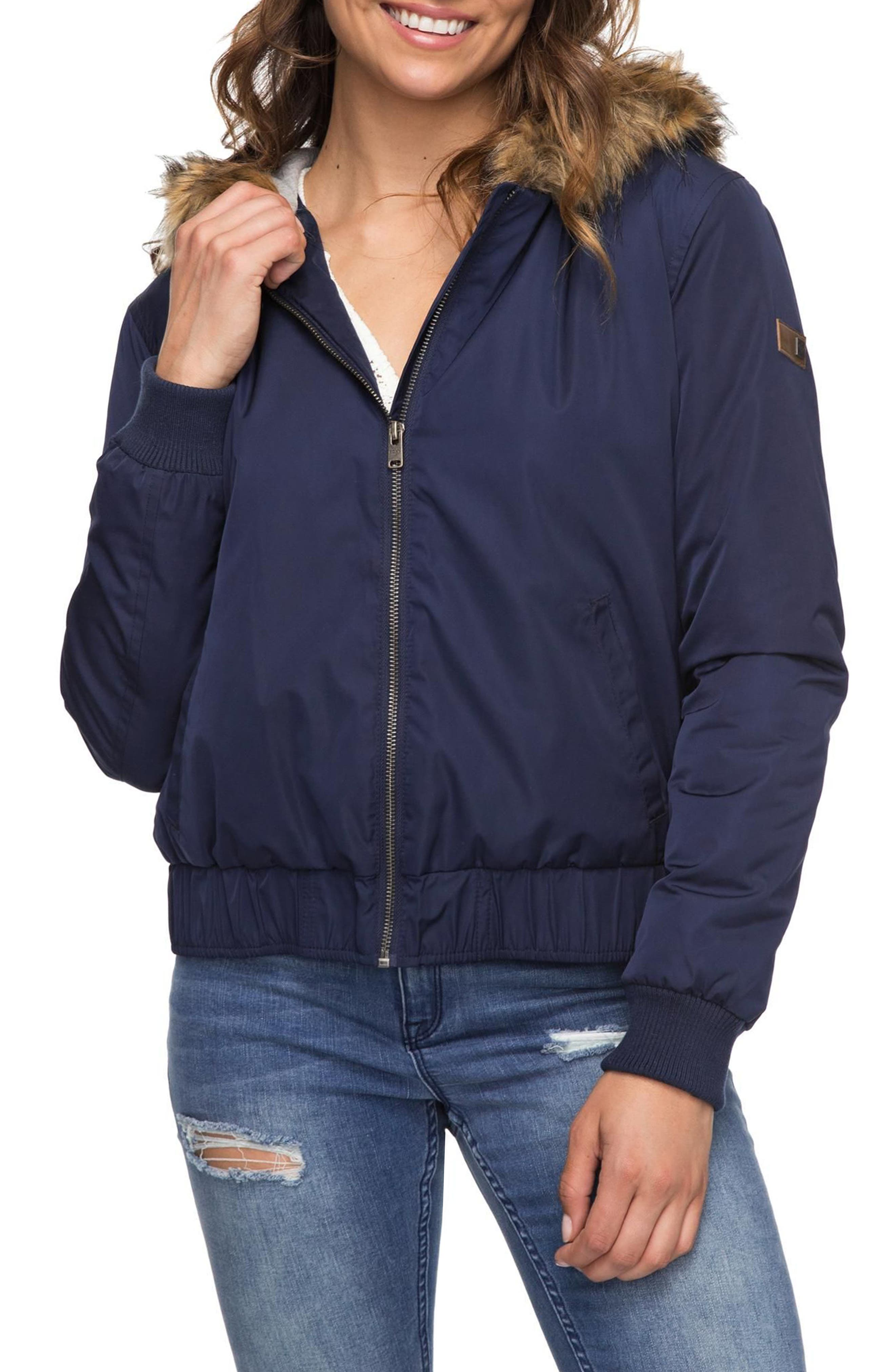 Oh Reely Faux Fur Bomber Jacket,                             Alternate thumbnail 3, color,                             Dress Blues
