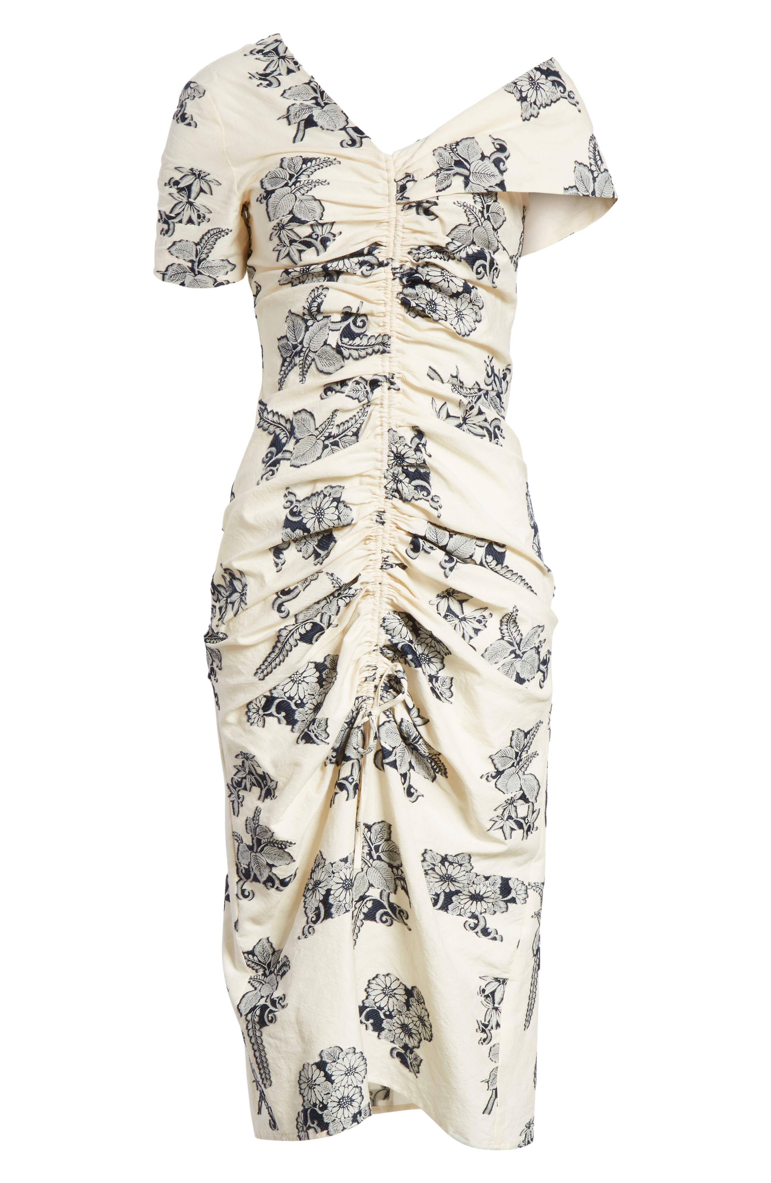 Josephine Floral Print Ruched Dress,                             Alternate thumbnail 6, color,                             Cream