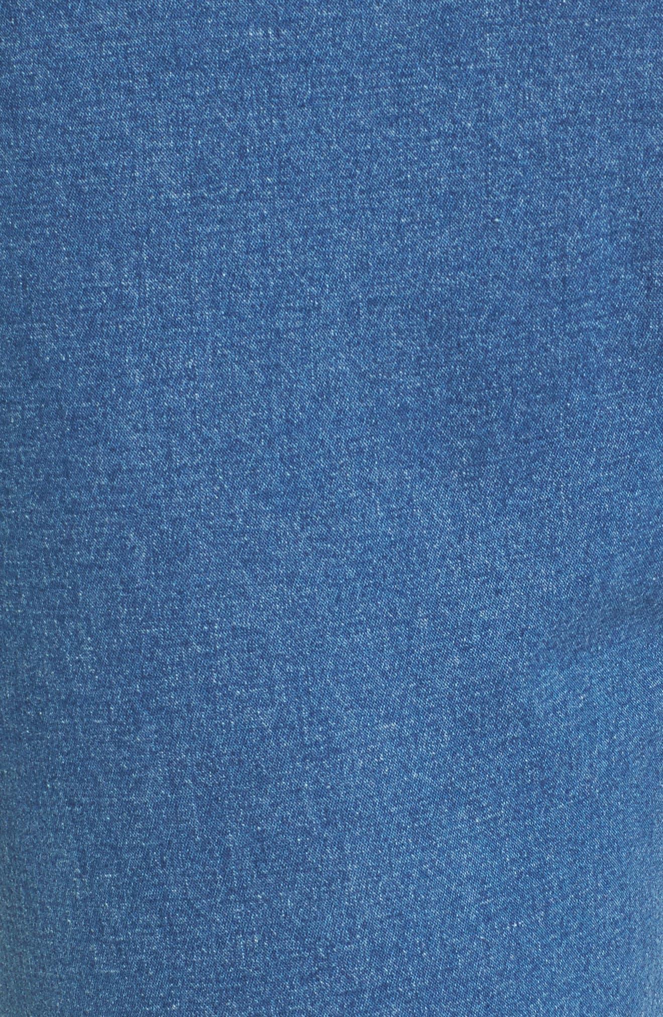 Ruffle Hem Denim Skimmer Leggings,                             Alternate thumbnail 5, color,                             Medium Wash