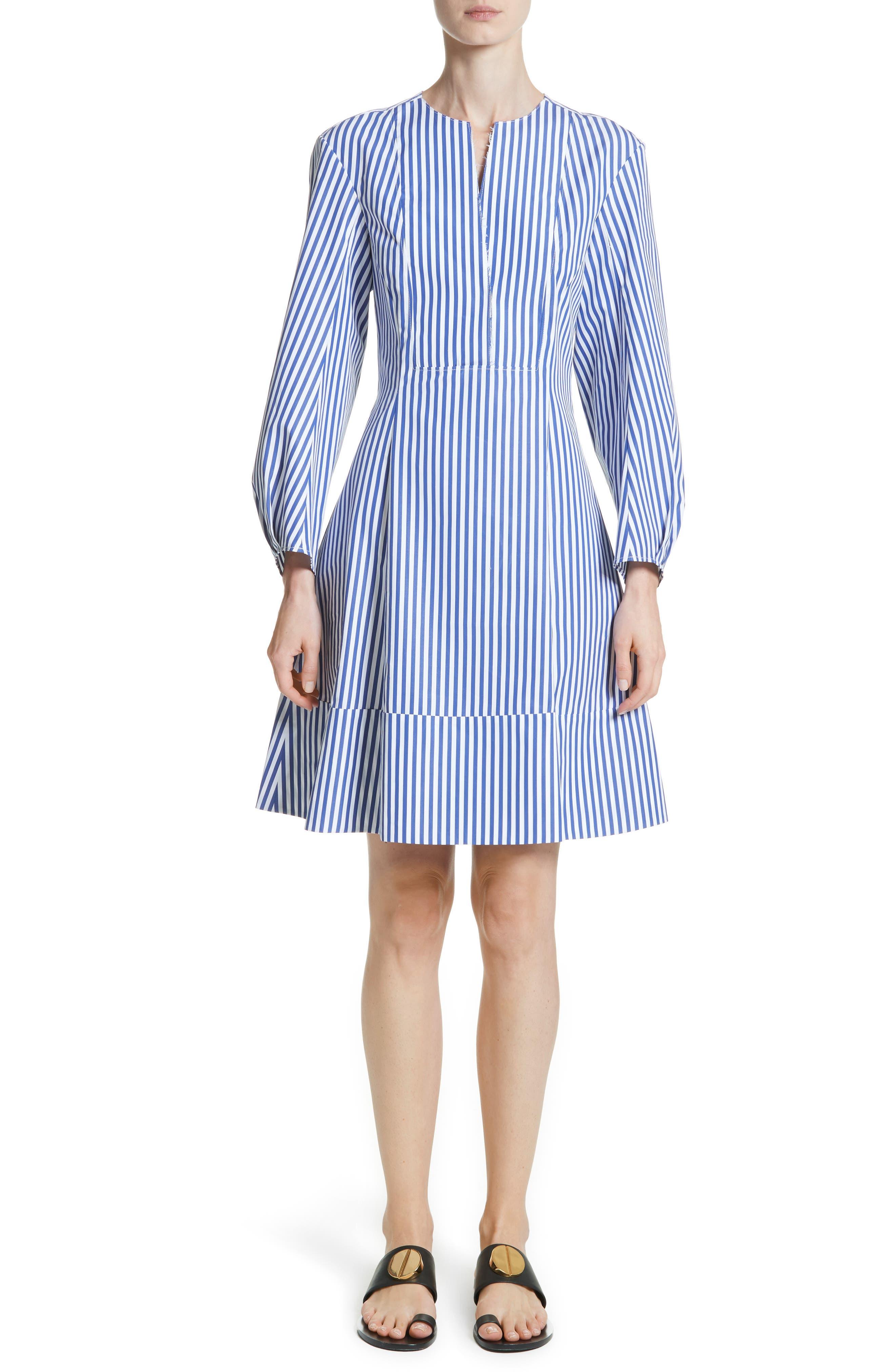 Vanessa Stripe Poplin Minidress,                         Main,                         color, Royal Blue / White Stripe
