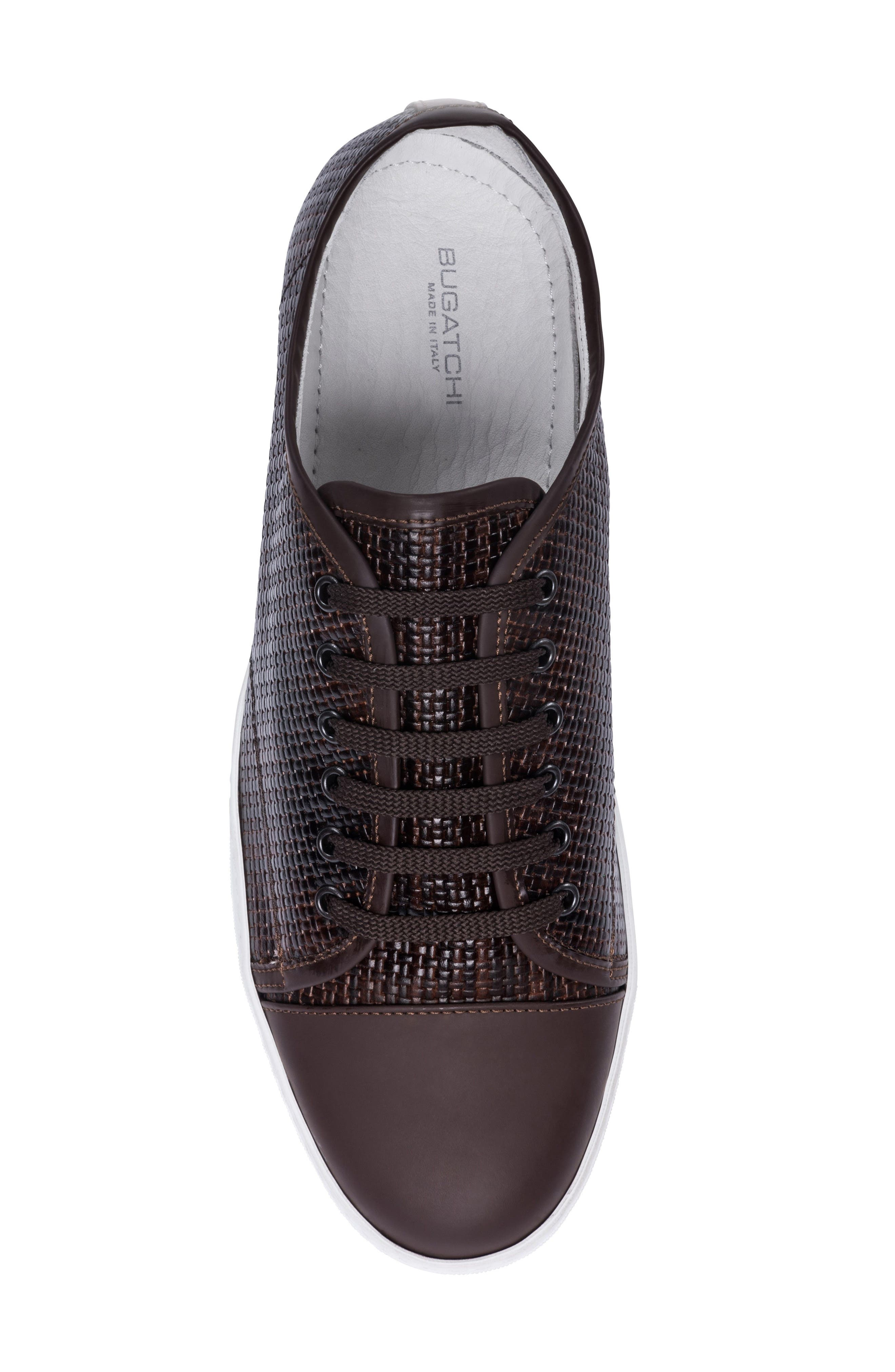 Cinque Terre Woven Cap Toe Sneaker,                             Alternate thumbnail 5, color,                             Brown Leather