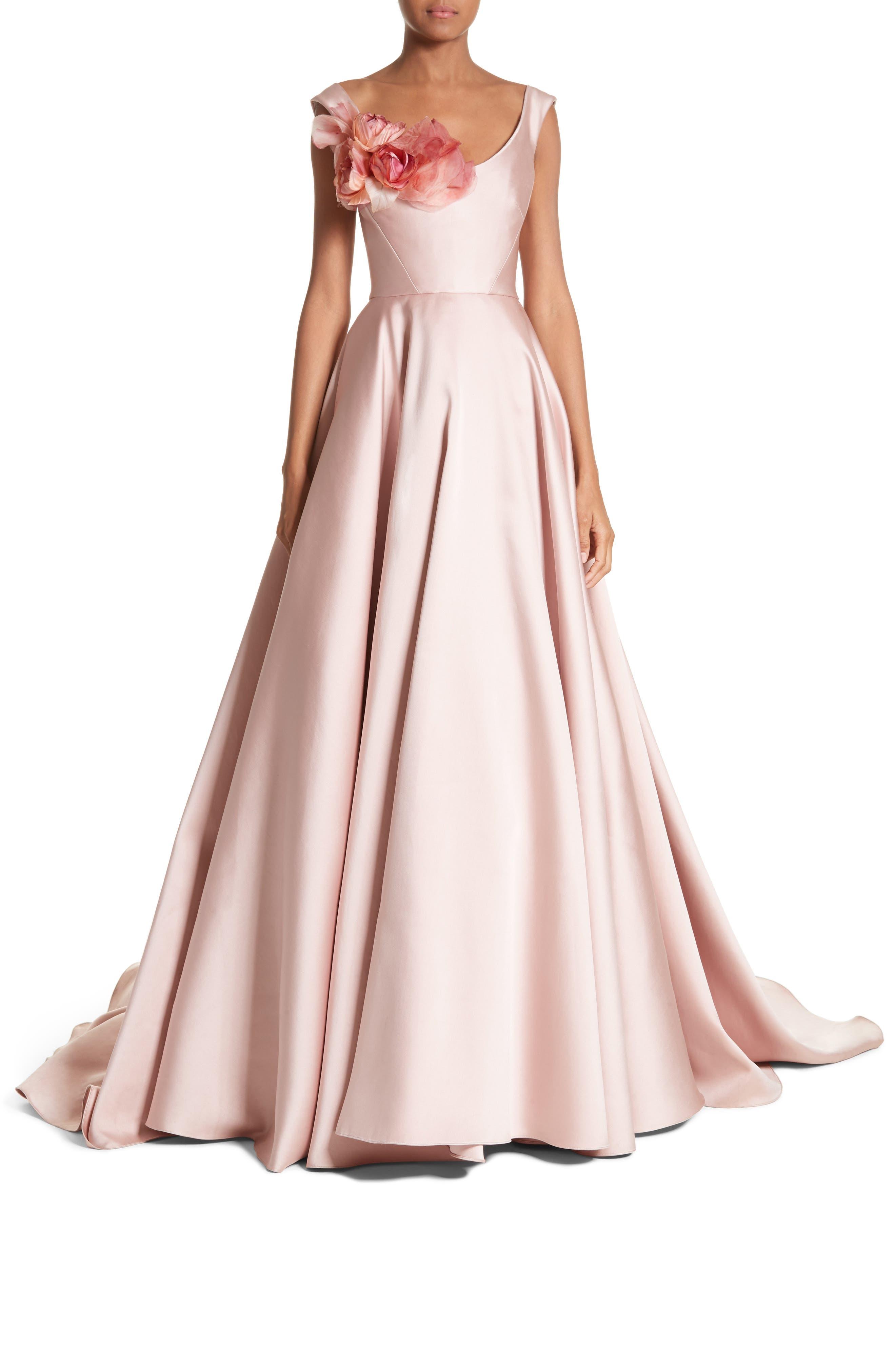 Corsage Off the Shoulder Satin Ballgown,                         Main,                         color, Blush